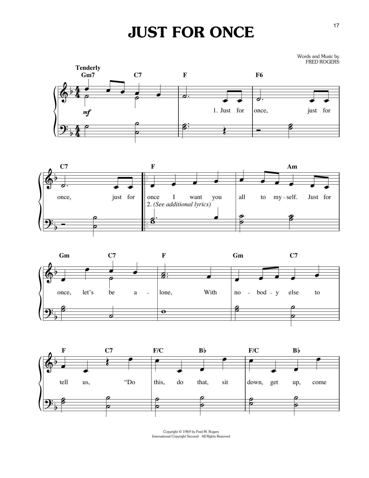 Just For Once Sheet Music