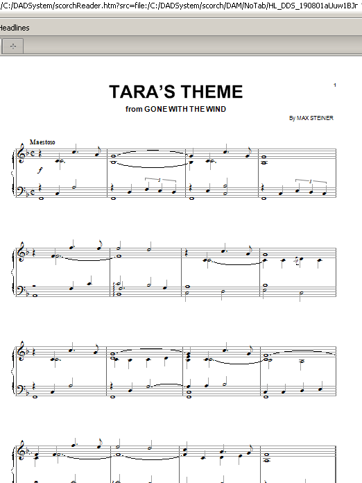 Tara's Theme (Piano, Vocal & Guitar (Right-Hand Melody))