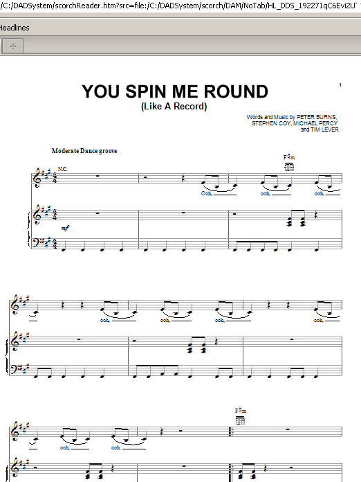 You Spin Me Round (Like A Record) (Piano, Vocal & Guitar (Right-Hand Melody))