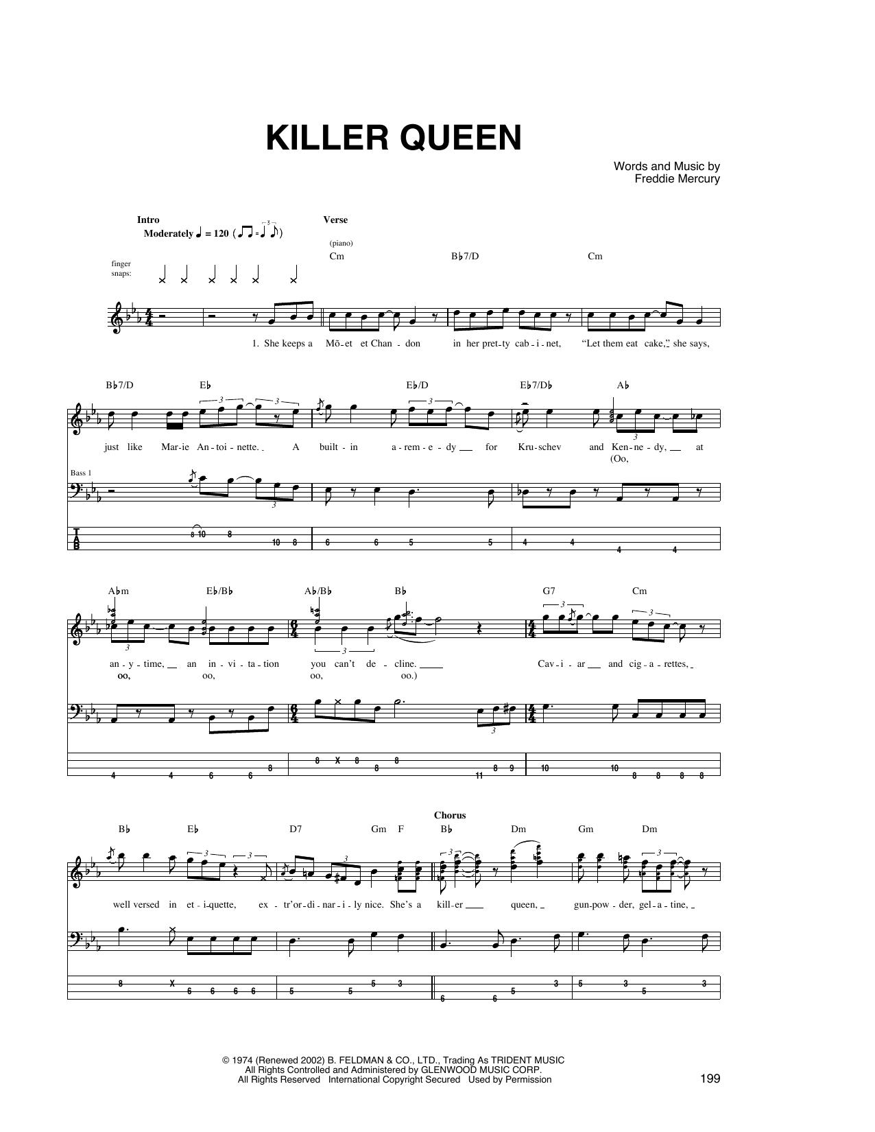 Killer Queen (Bass Guitar Tab)