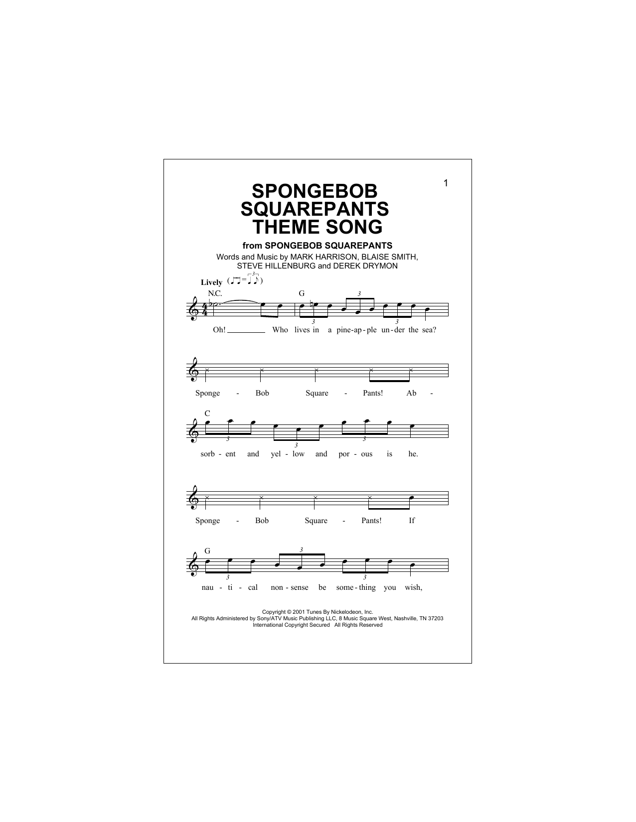 SpongeBob SquarePants Theme Song Sheet Music