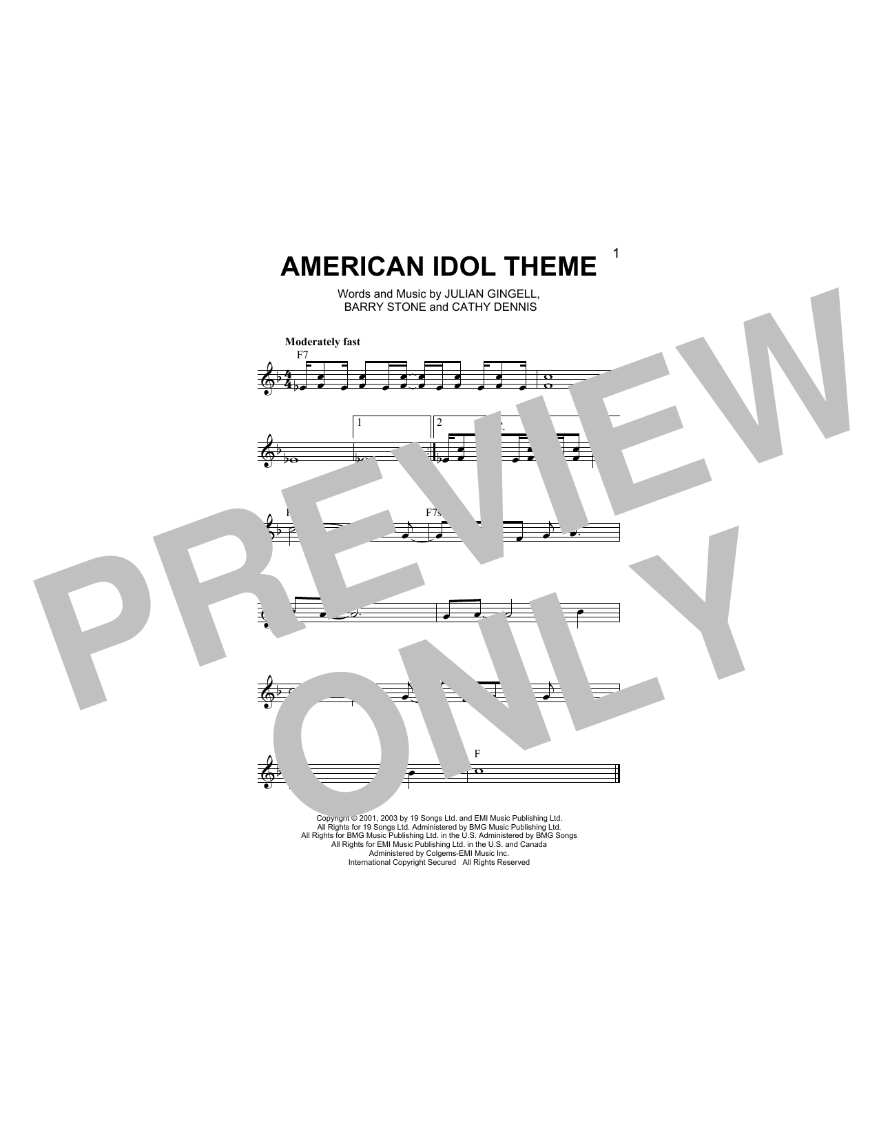 American Idol Theme Sheet Music