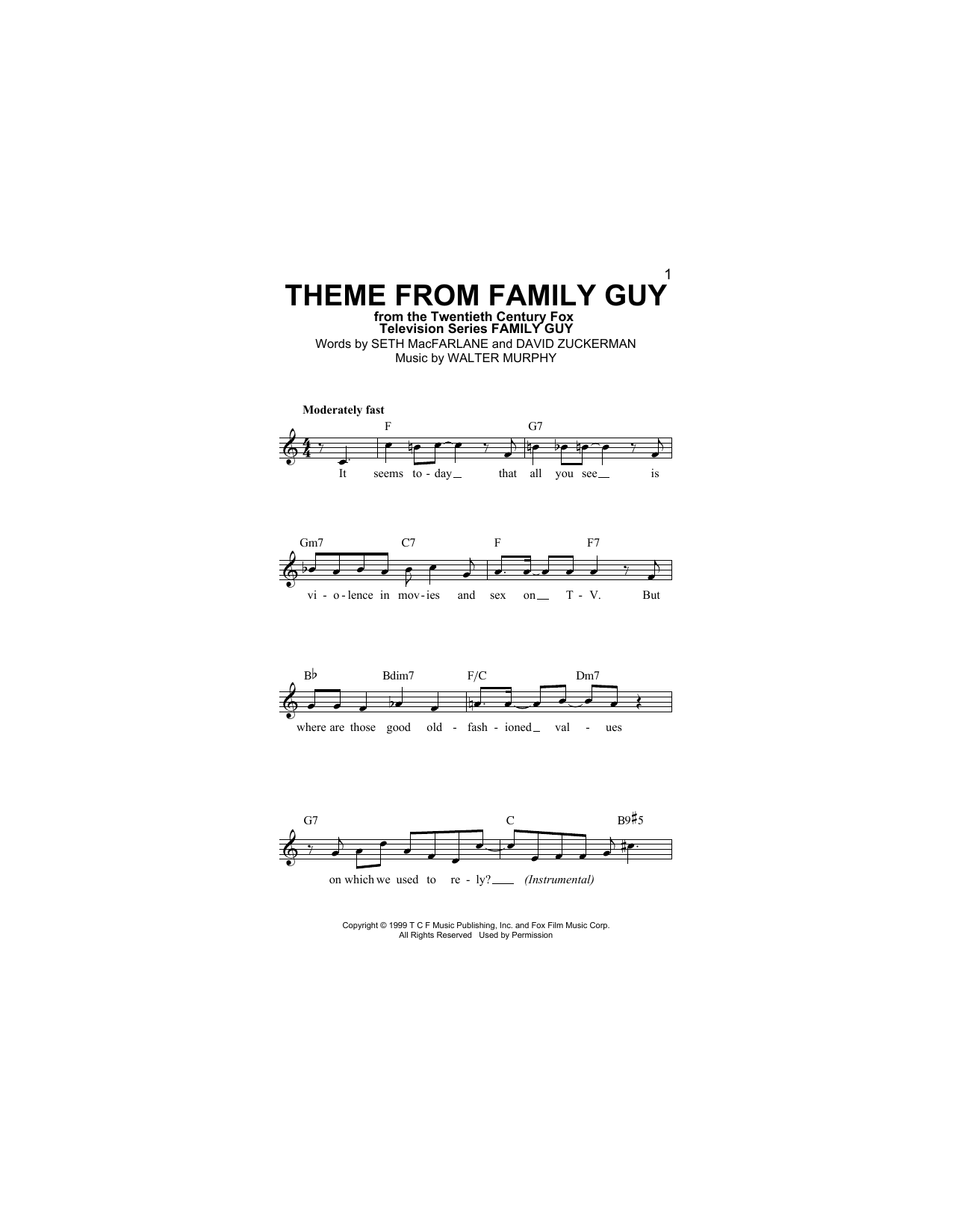 Theme From Family Guy (Lead Sheet / Fake Book)