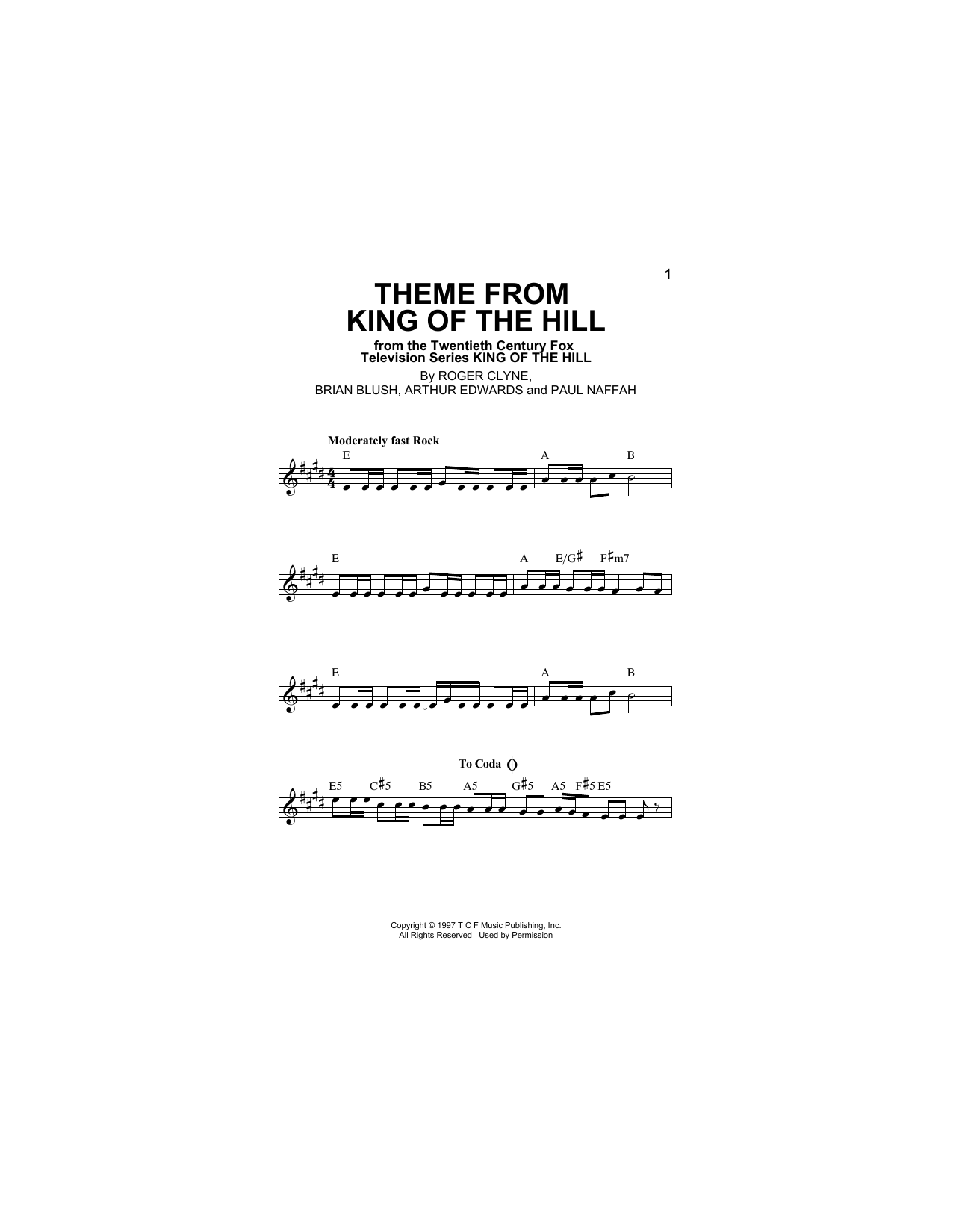 Theme From King Of The Hill (Lead Sheet / Fake Book)