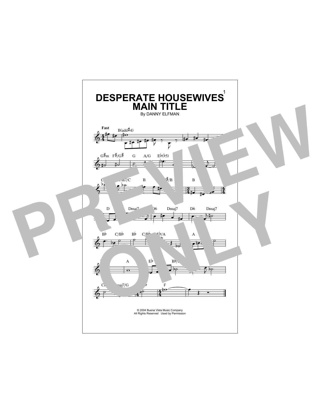 Desperate Housewives Main Title (Lead Sheet / Fake Book)