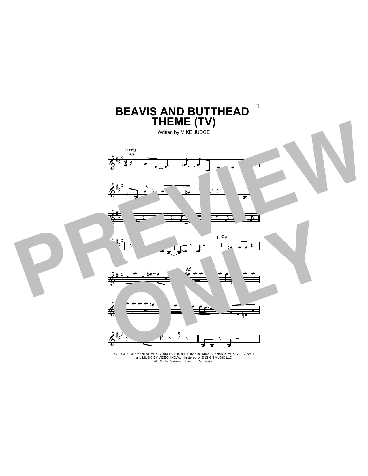 Beavis And Butthead Theme (Lead Sheet / Fake Book)