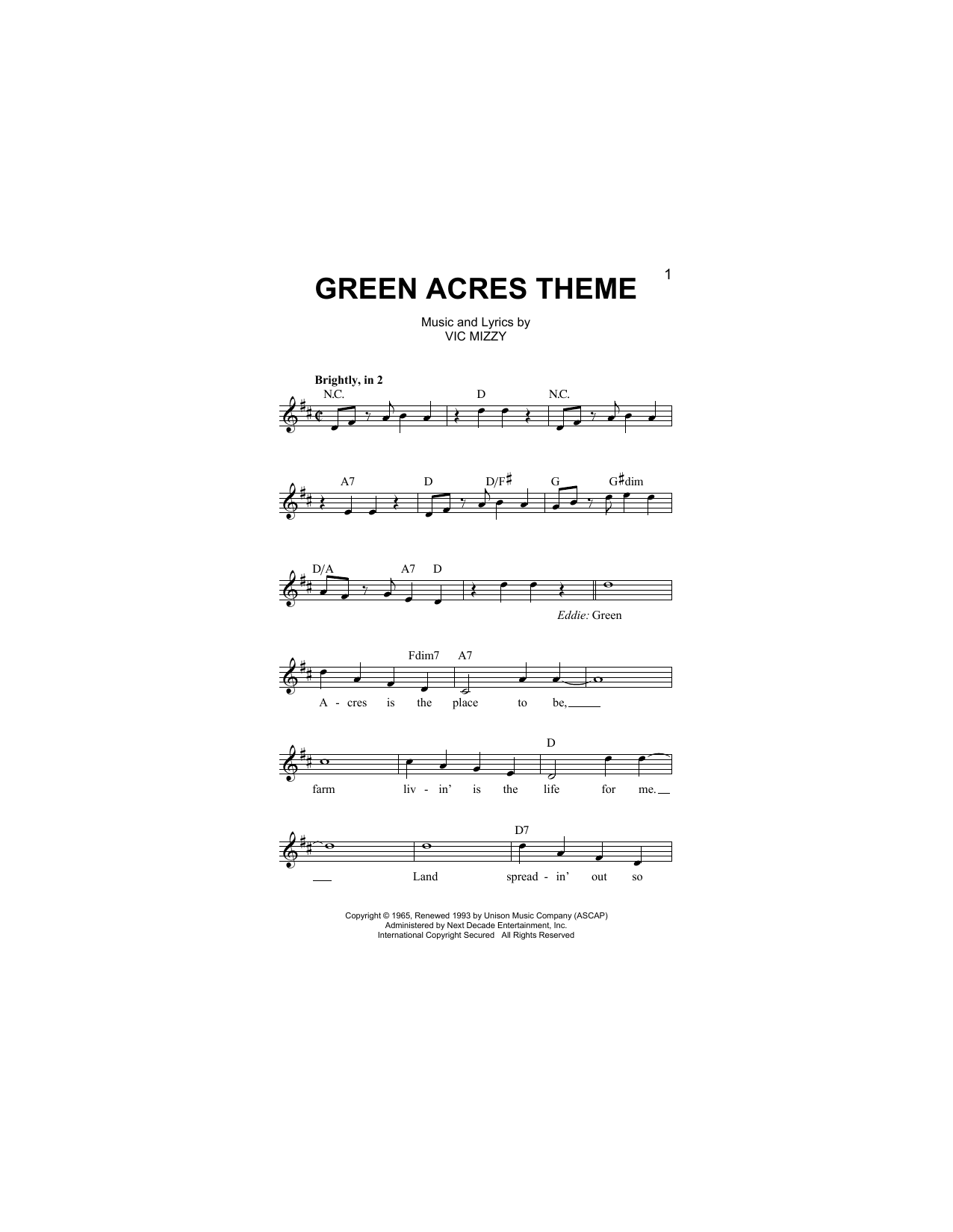 Green Acres Theme Sheet Music