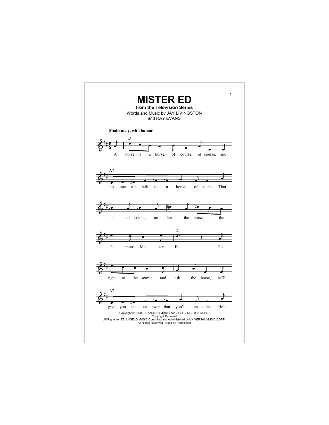 Mister Ed Sheet Music