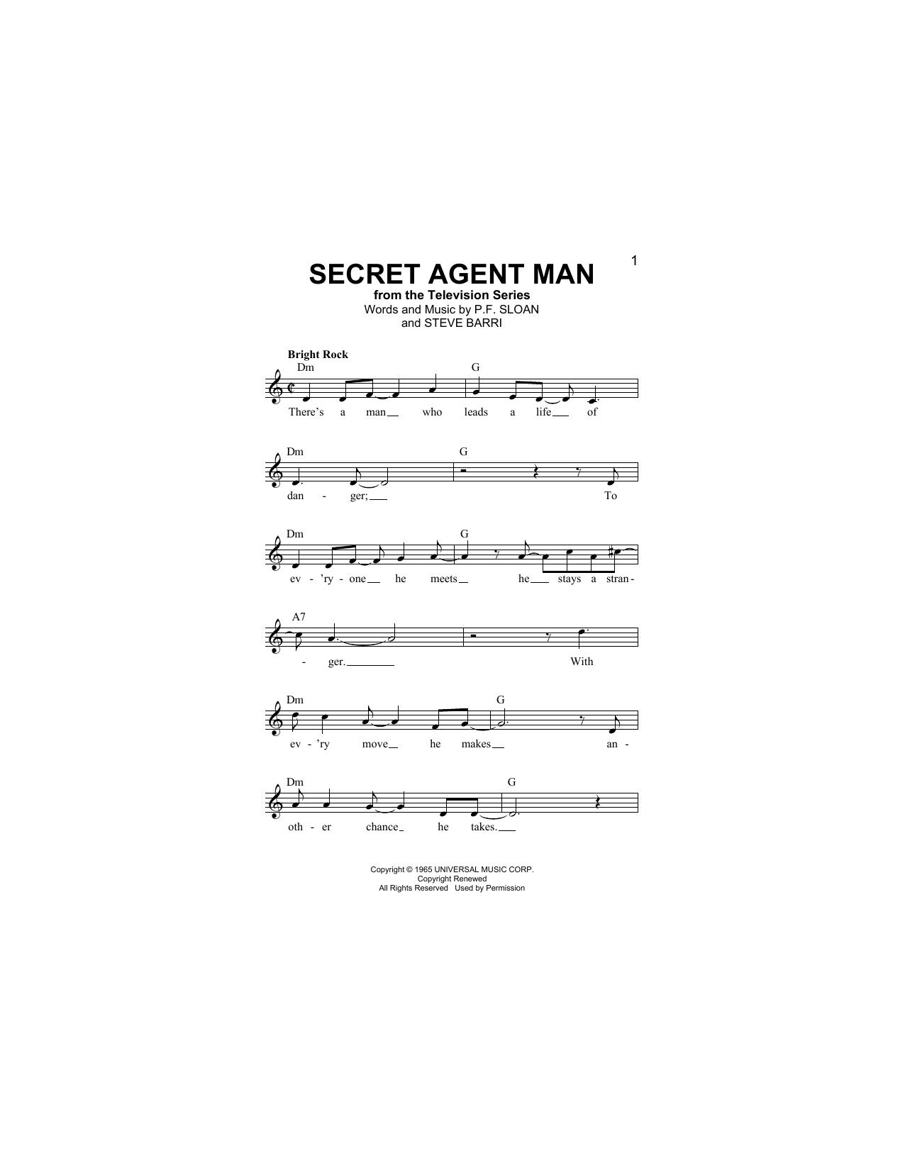 Secret Agent Man Sheet Music