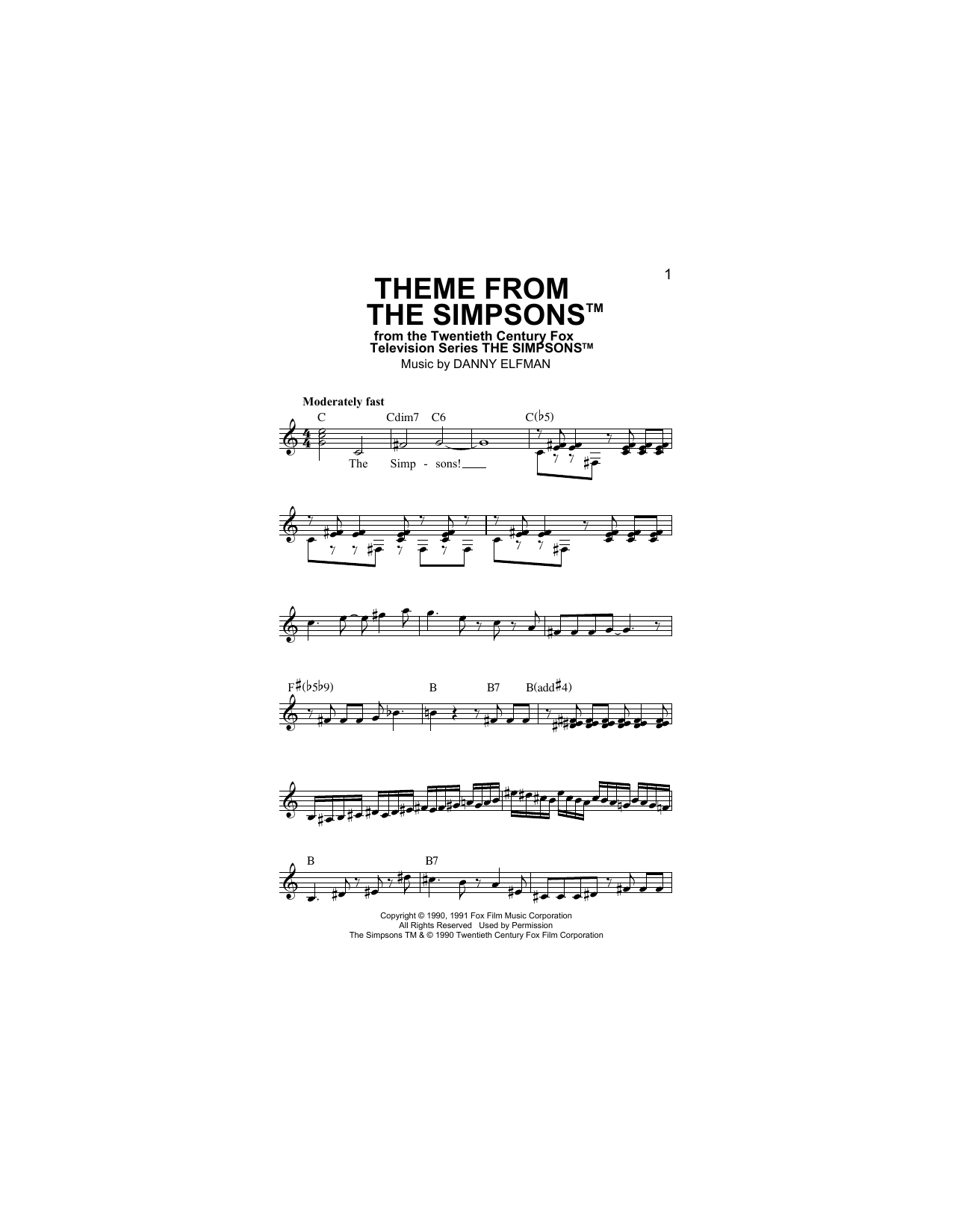 Theme From The Simpsons Sheet Music