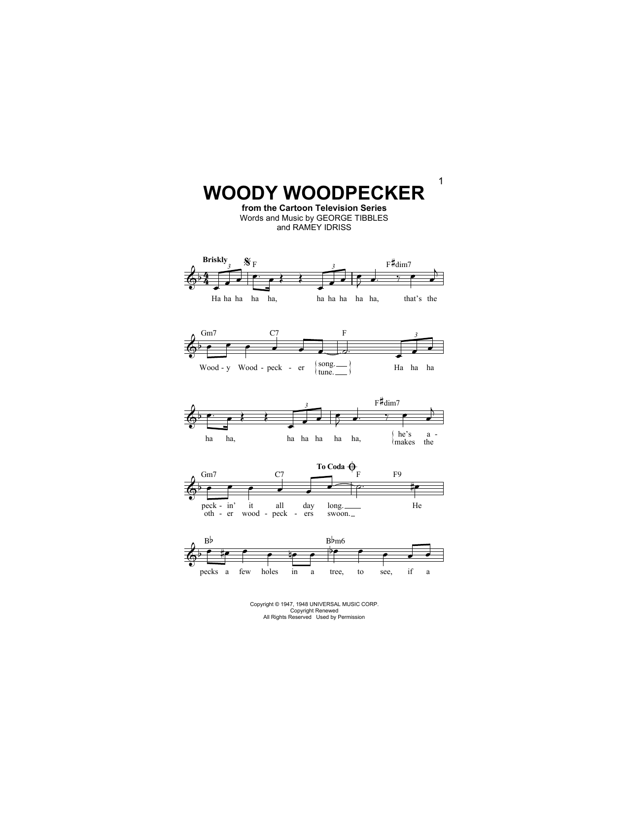 Woody Woodpecker (Lead Sheet / Fake Book)