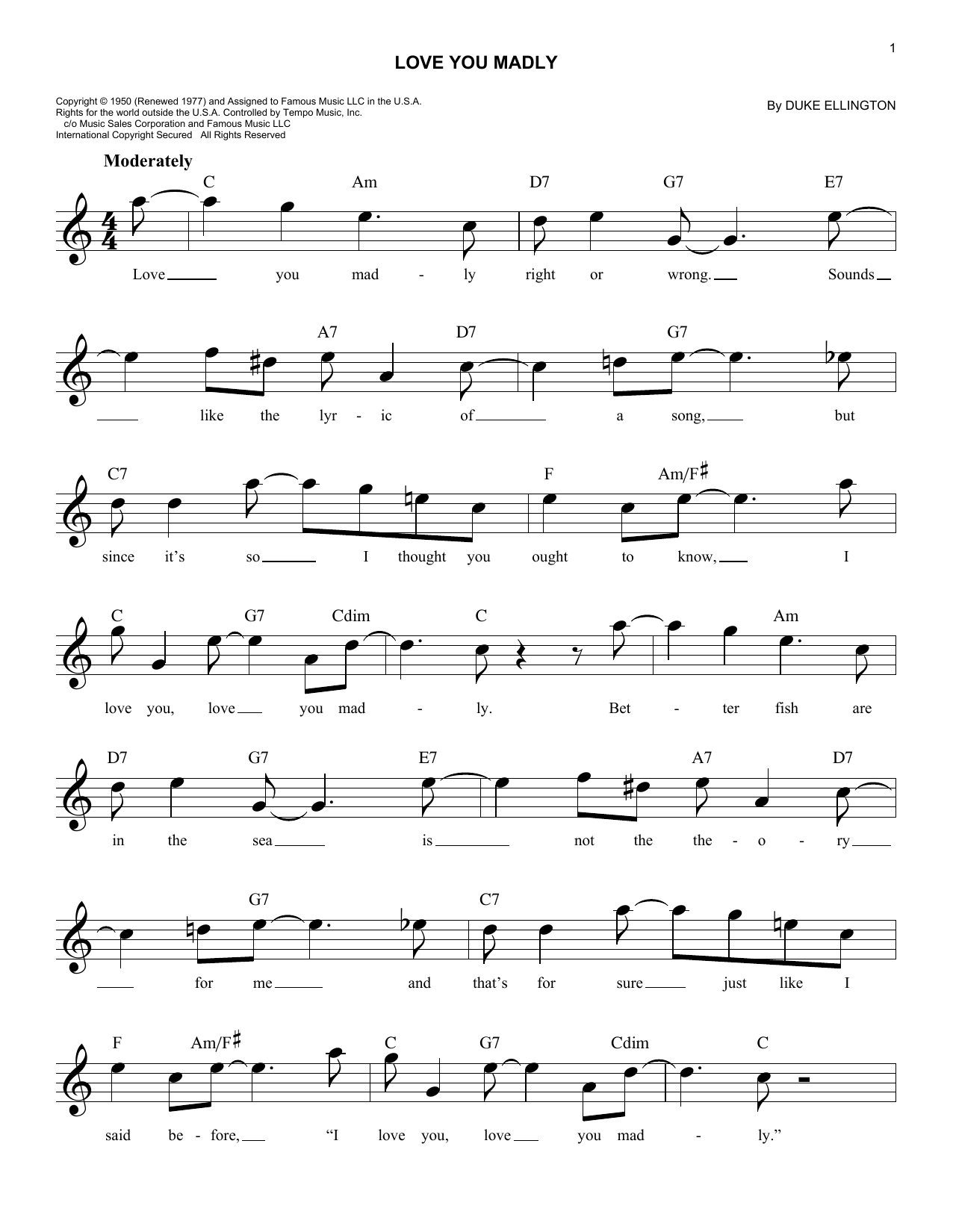 Love You Madly (Lead Sheet / Fake Book)