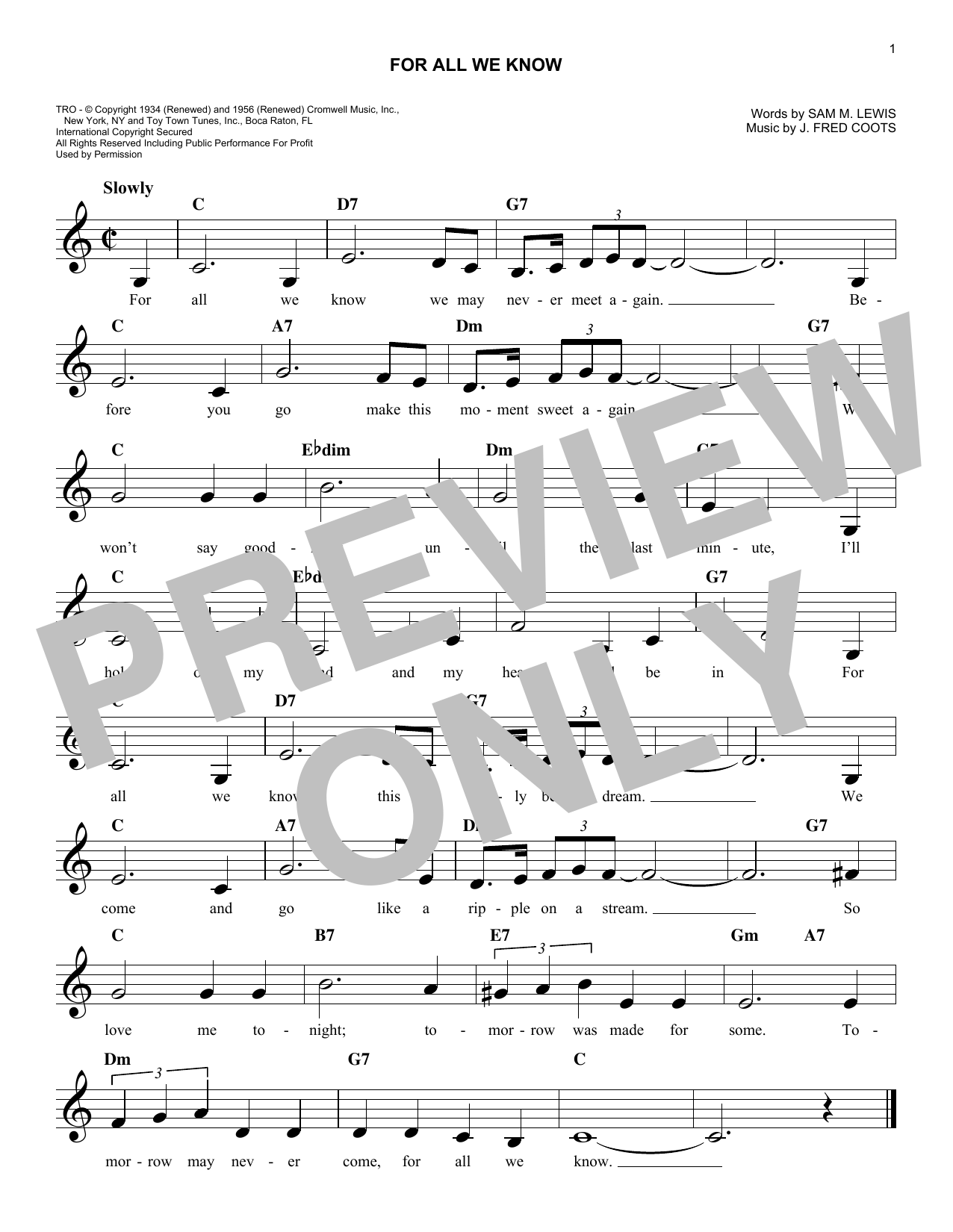 For All We Know (Lead Sheet / Fake Book)