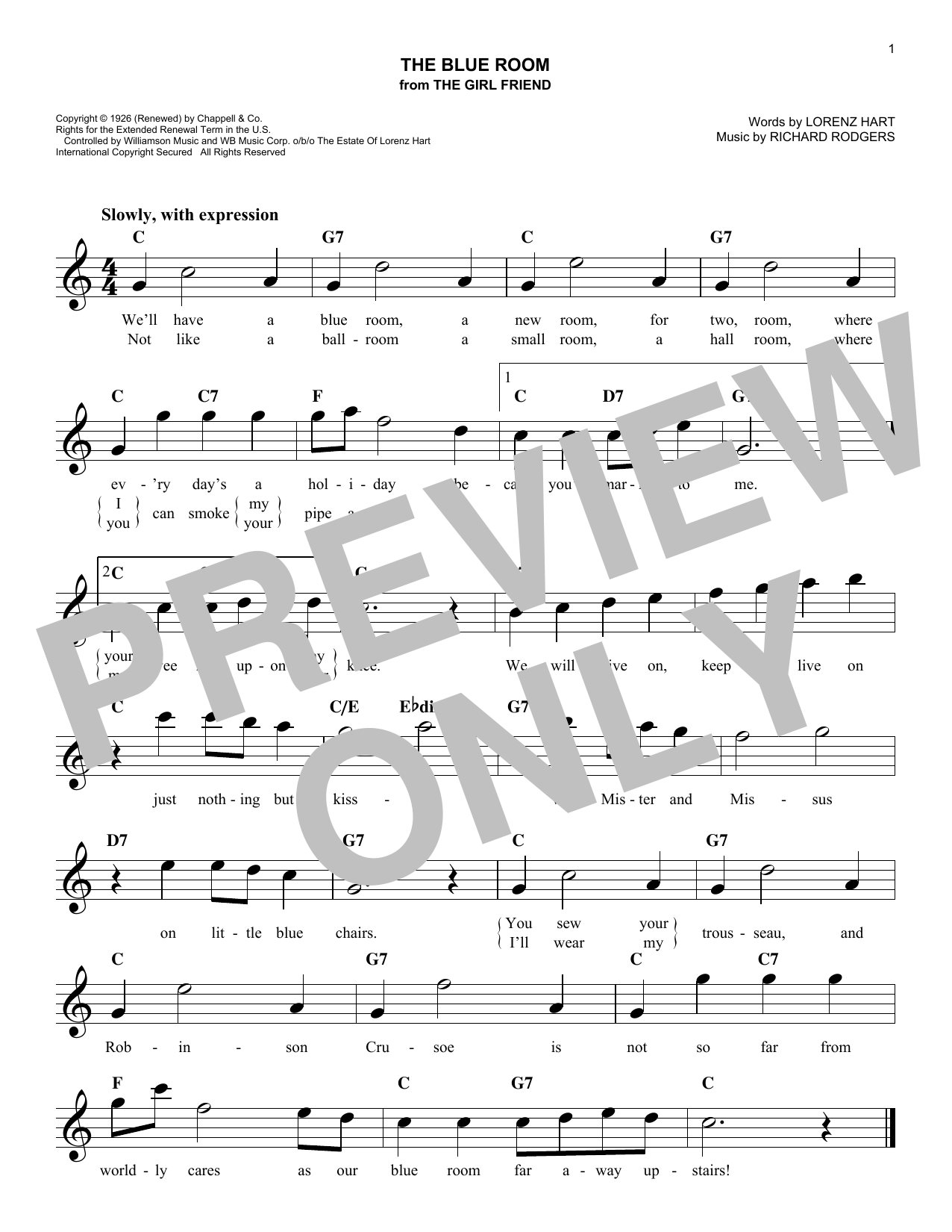 The Blue Room (Lead Sheet / Fake Book)