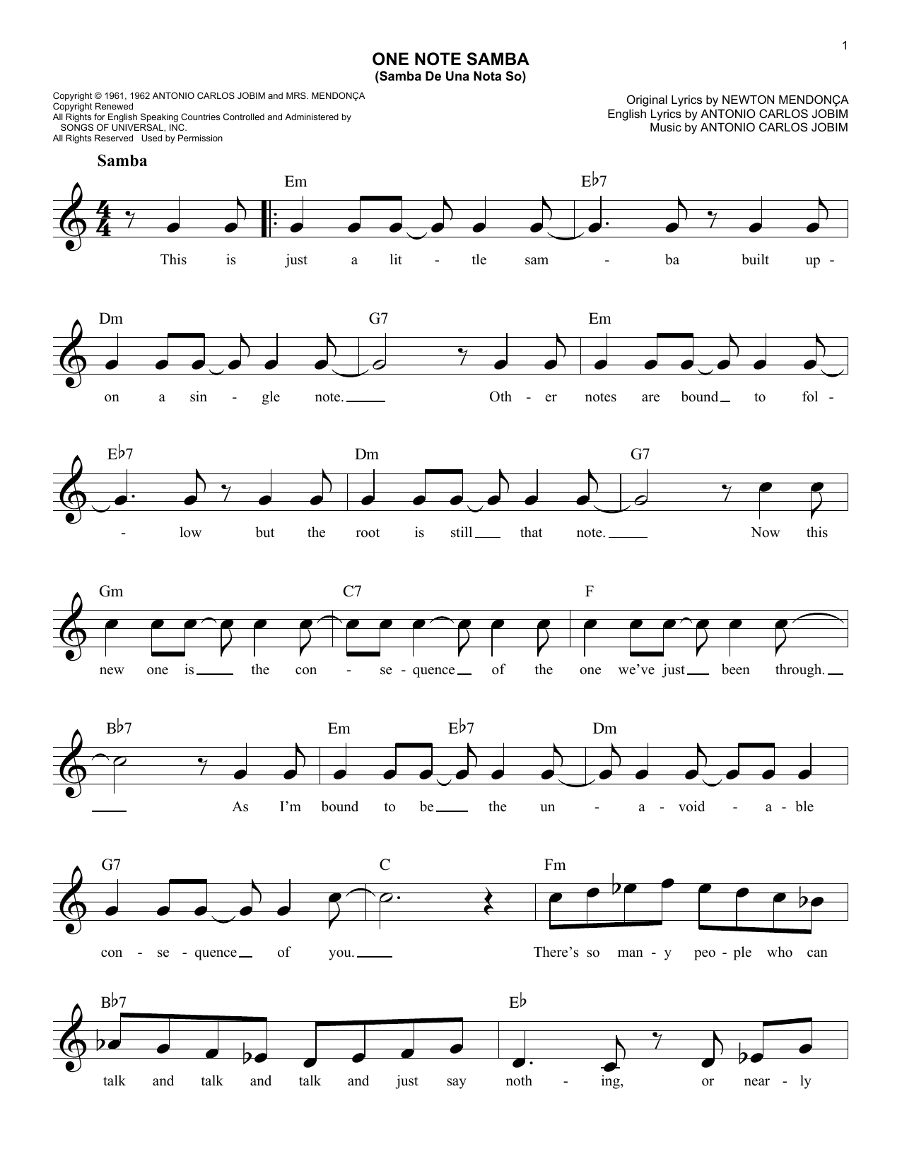 One Note Samba (Samba De Uma Nota So) Sheet Music