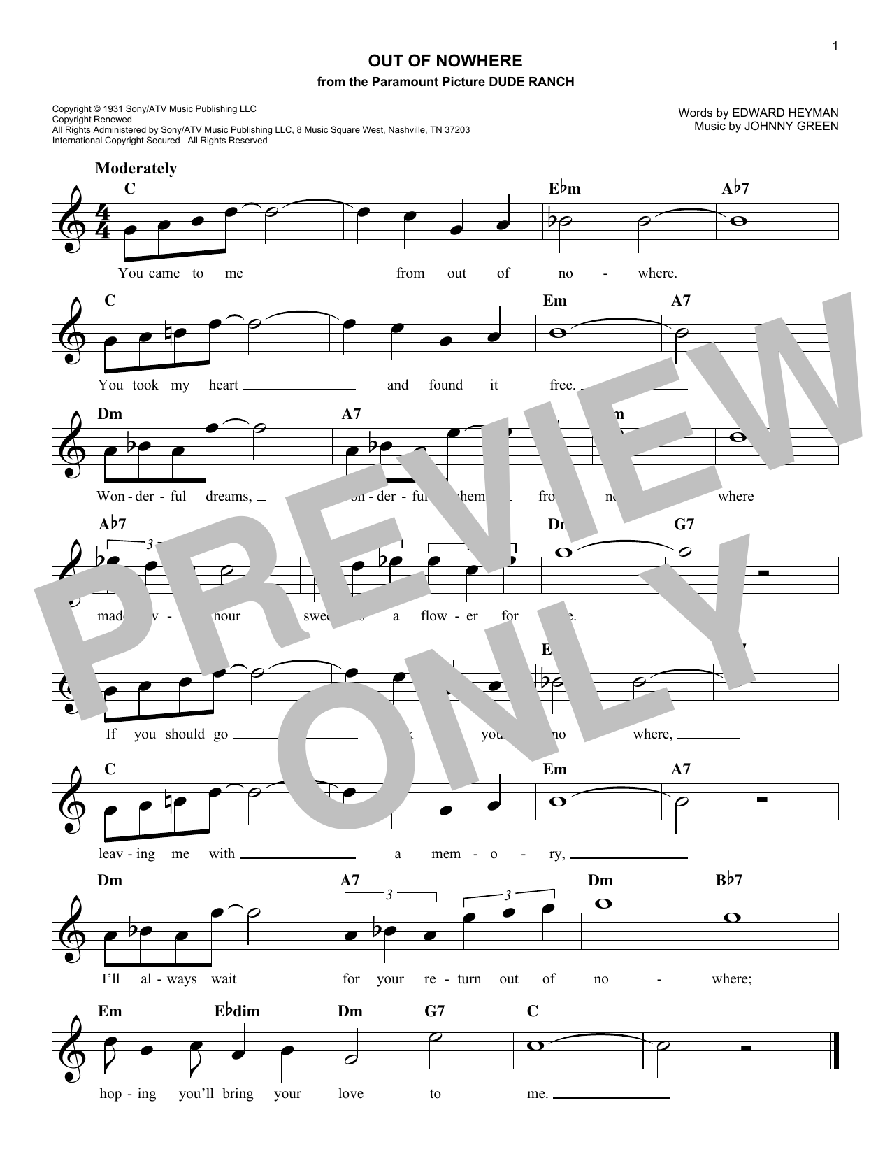 Out Of Nowhere (Lead Sheet / Fake Book)