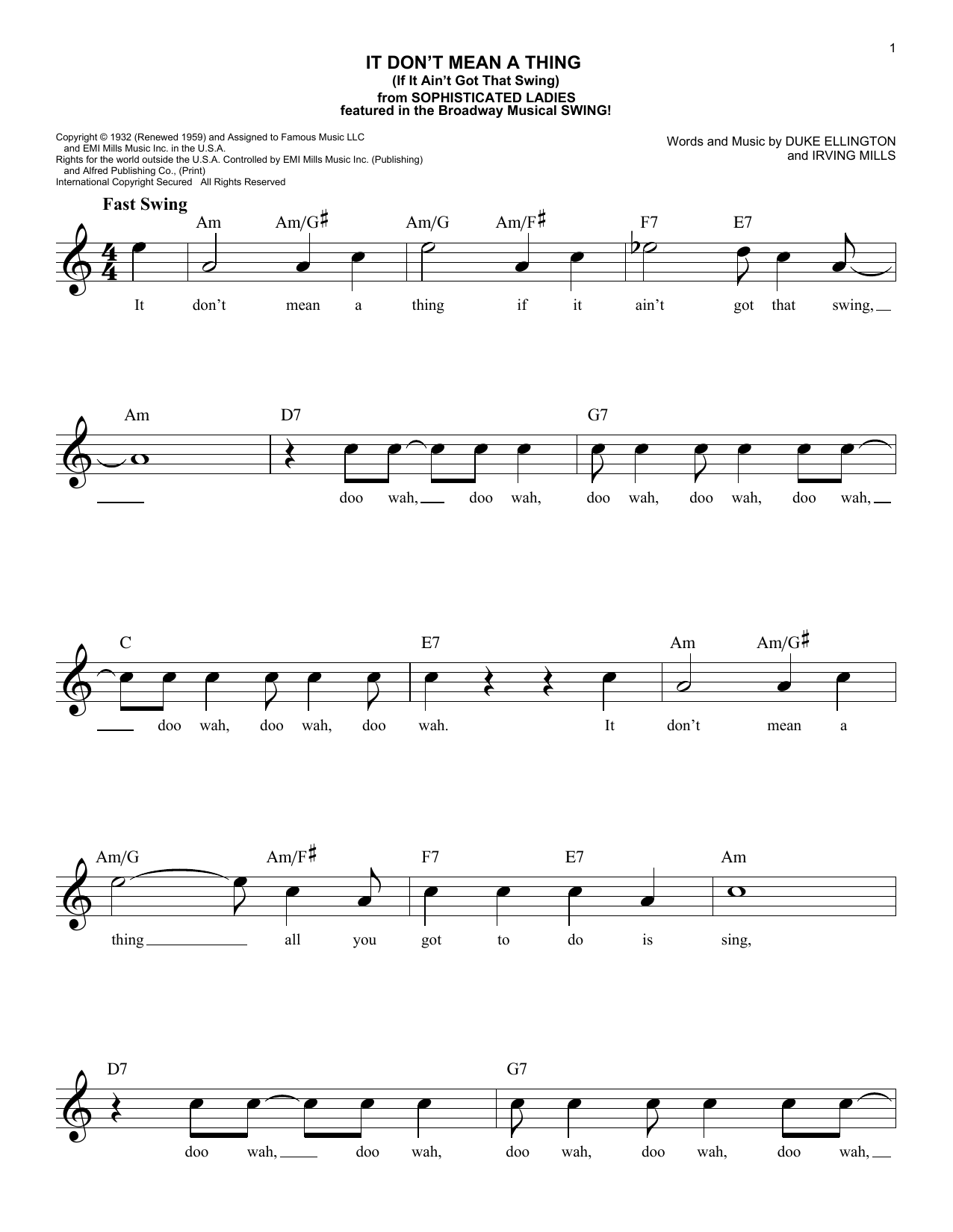 It Don't Mean A Thing (If It Ain't Got That Swing) (Lead Sheet / Fake Book)