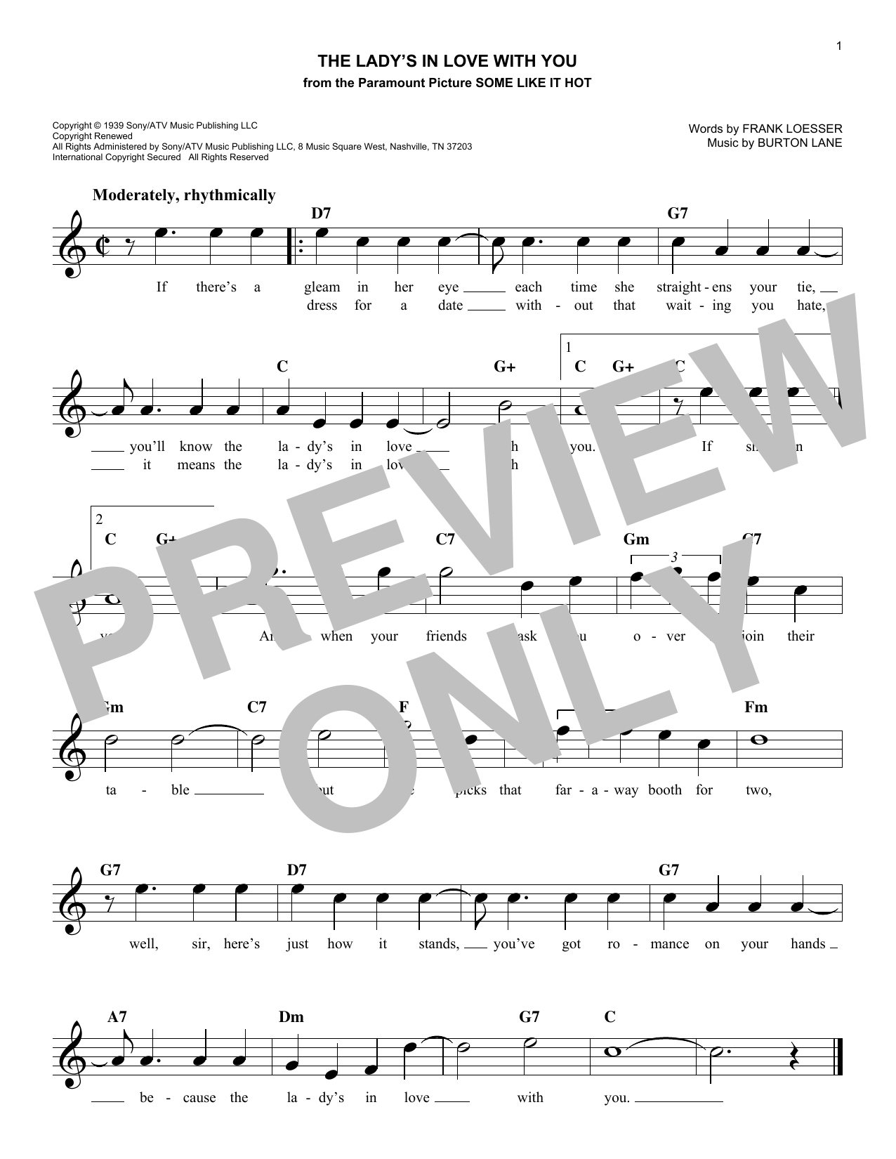 The Lady's In Love With You (Lead Sheet / Fake Book)