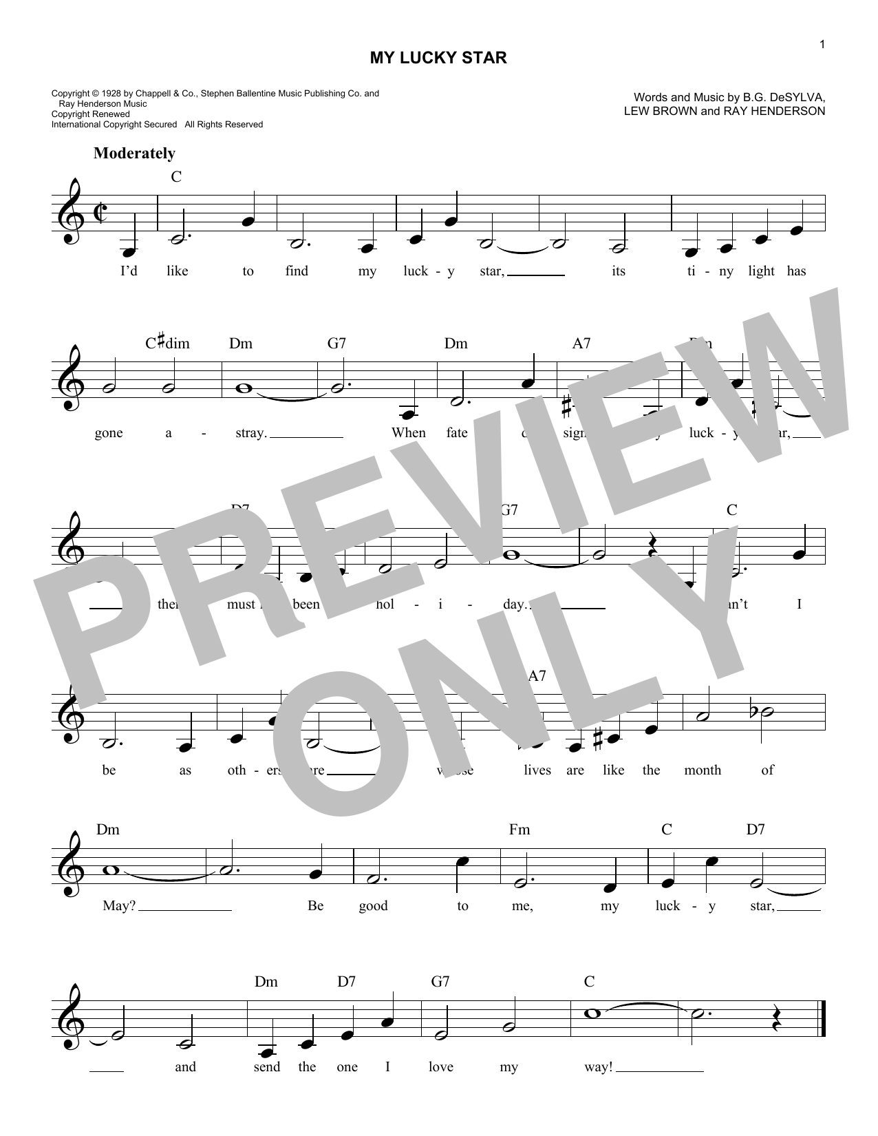 My Lucky Star (Lead Sheet / Fake Book)