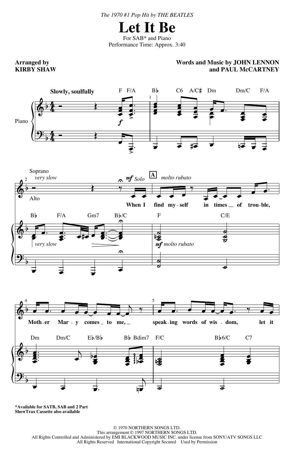 Let It Be (arr. Kirby Shaw) (SAB Choir)