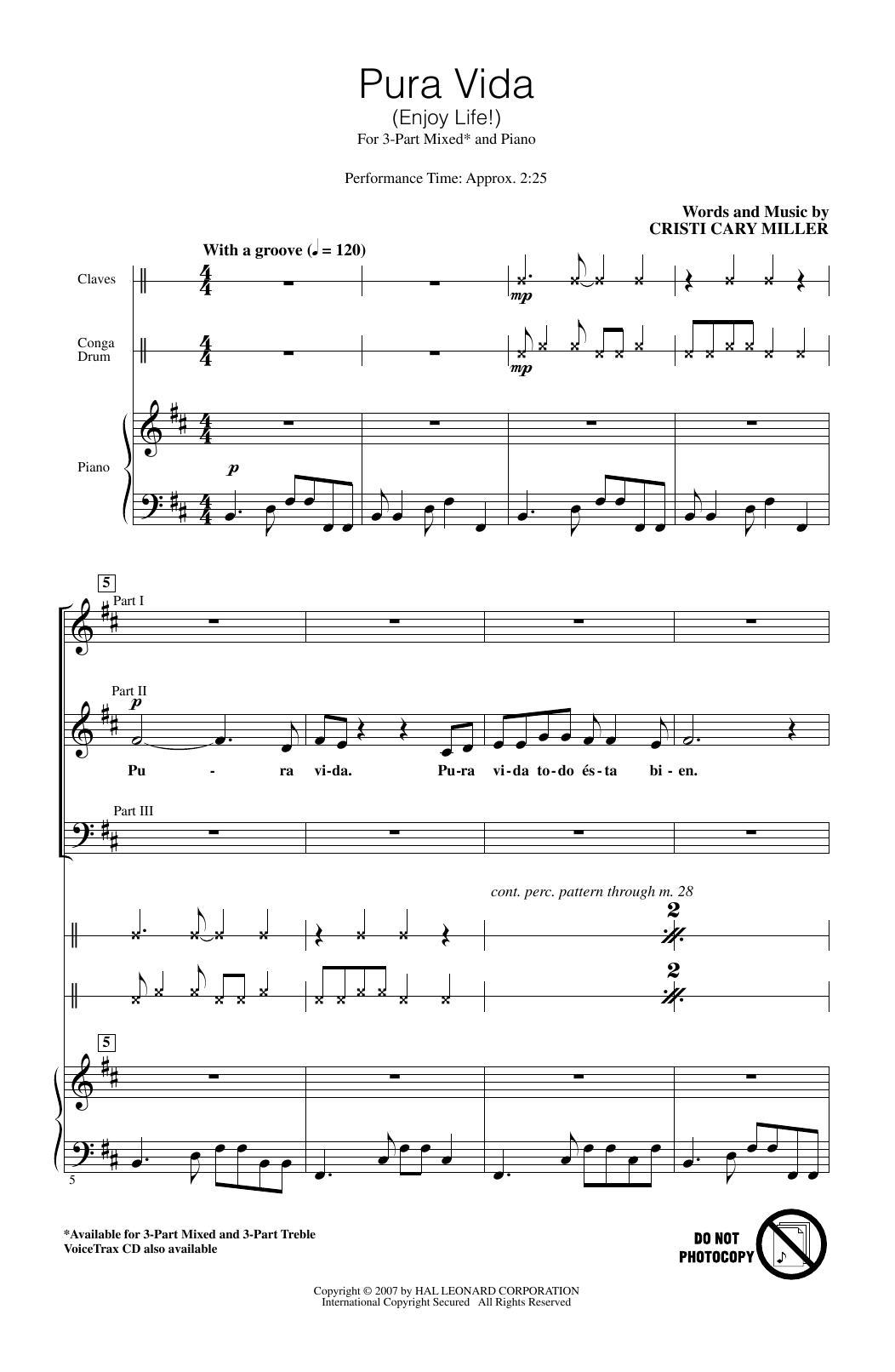 Pura Vida (Enjoy Life) (3-Part Mixed Choir)