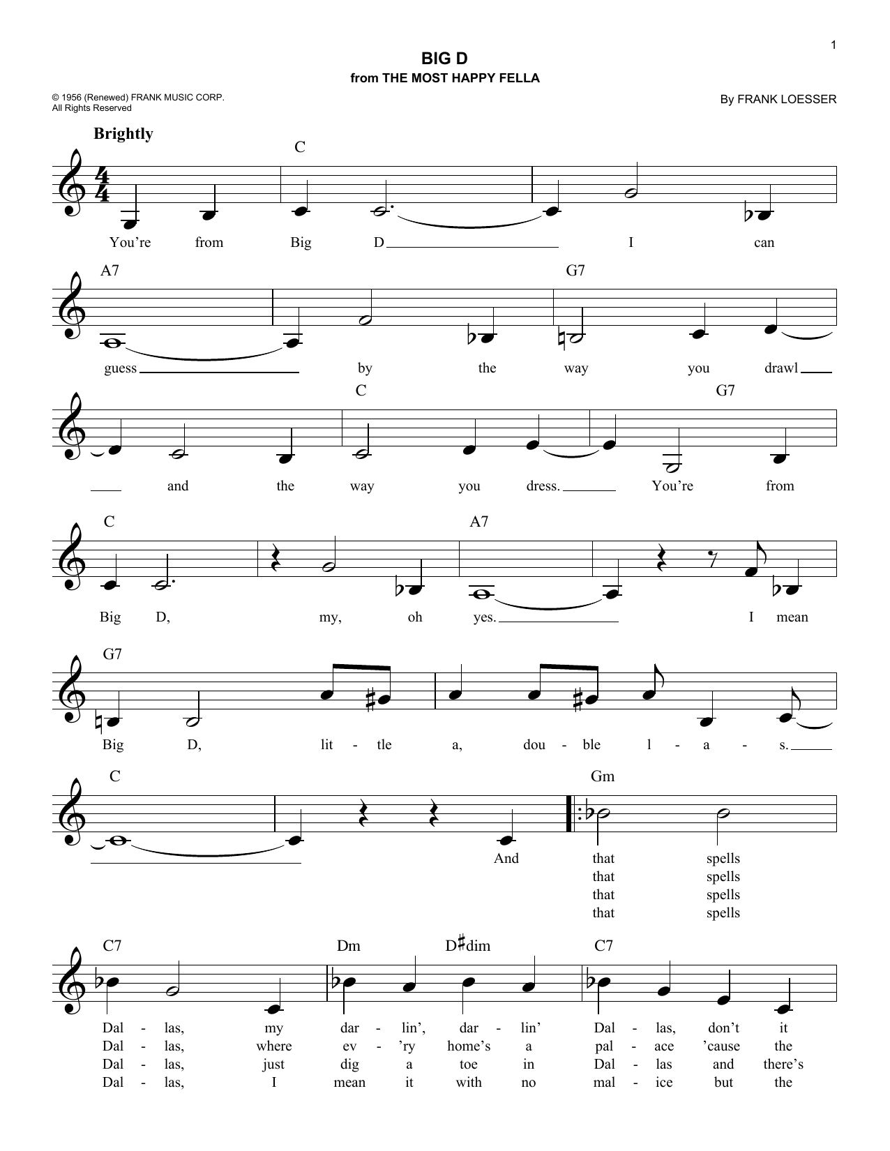 Big D (Lead Sheet / Fake Book)