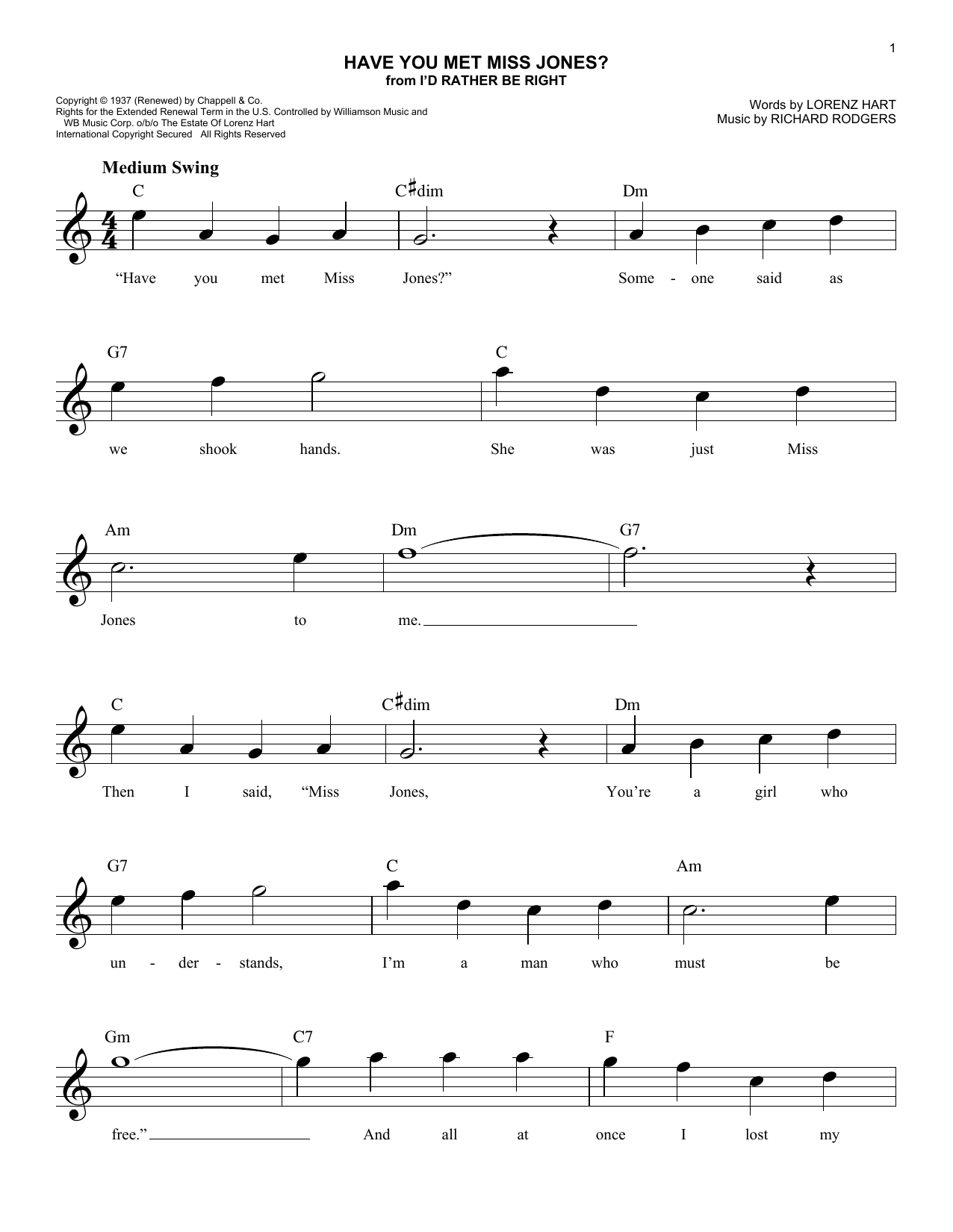 Have You Met Miss Jones? (Lead Sheet / Fake Book)
