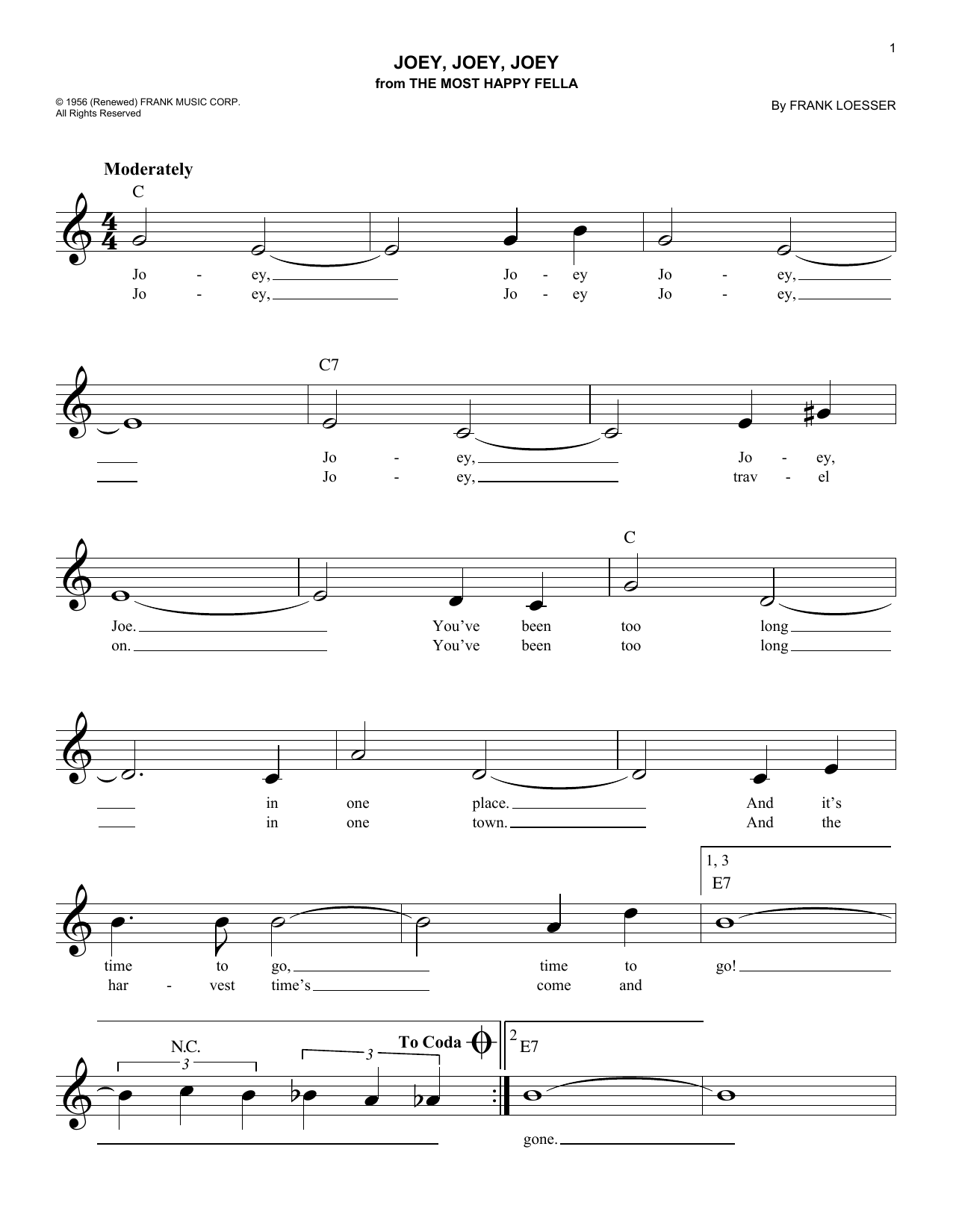 Joey, Joey, Joey (Lead Sheet / Fake Book)