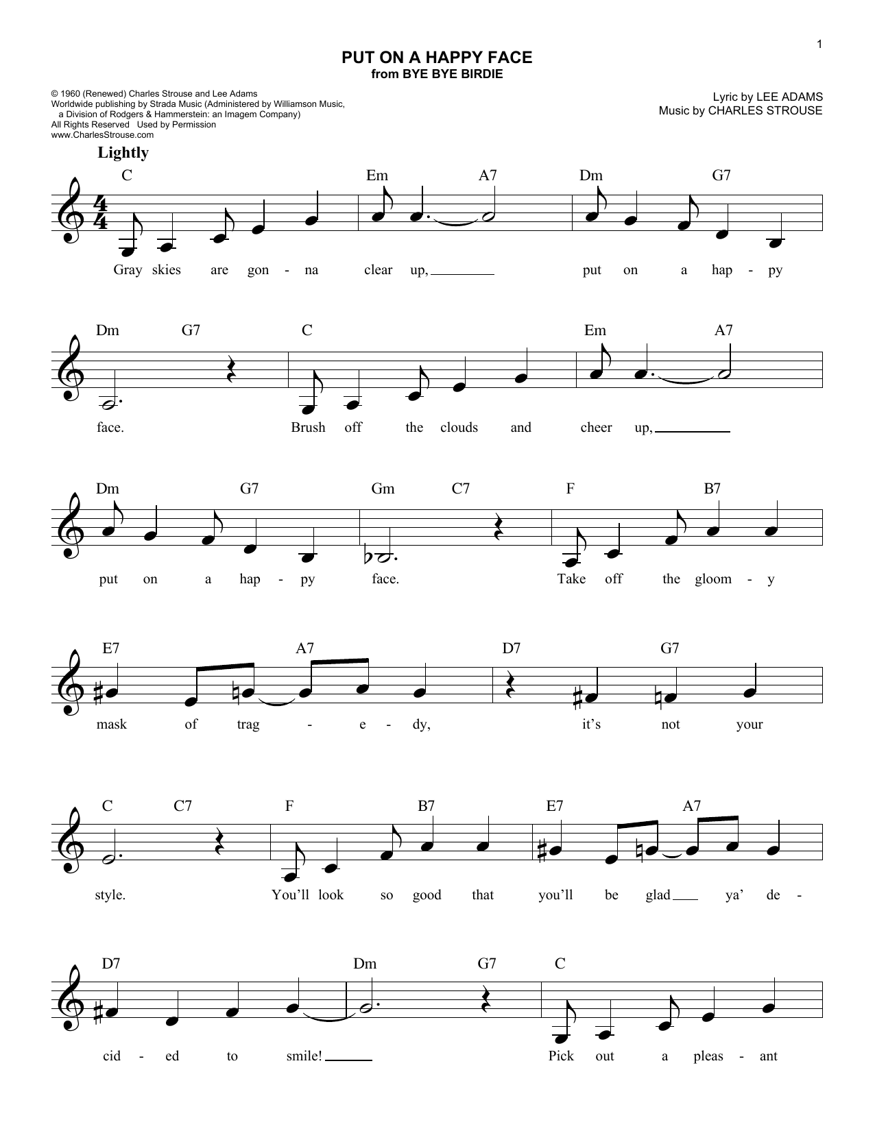 Put On A Happy Face Sheet Music