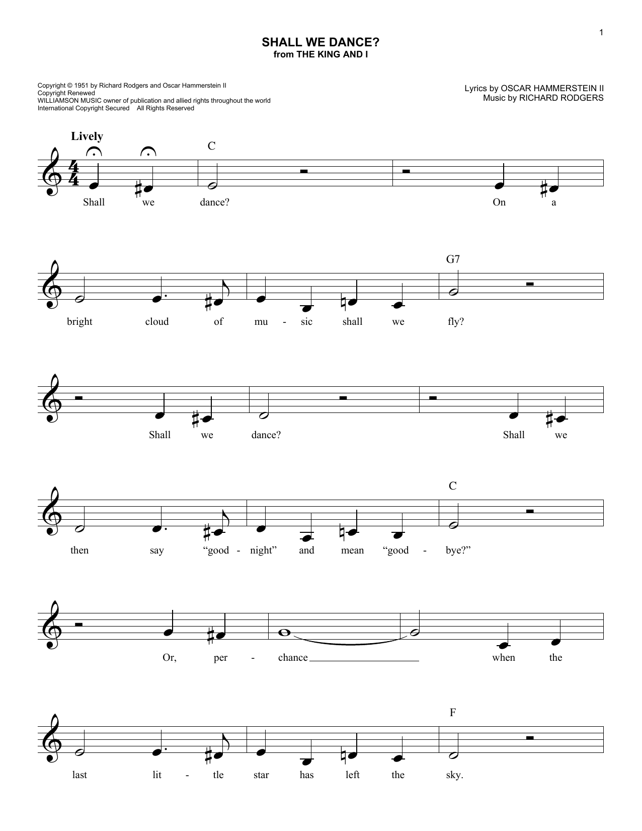 Shall We Dance? (Lead Sheet / Fake Book)
