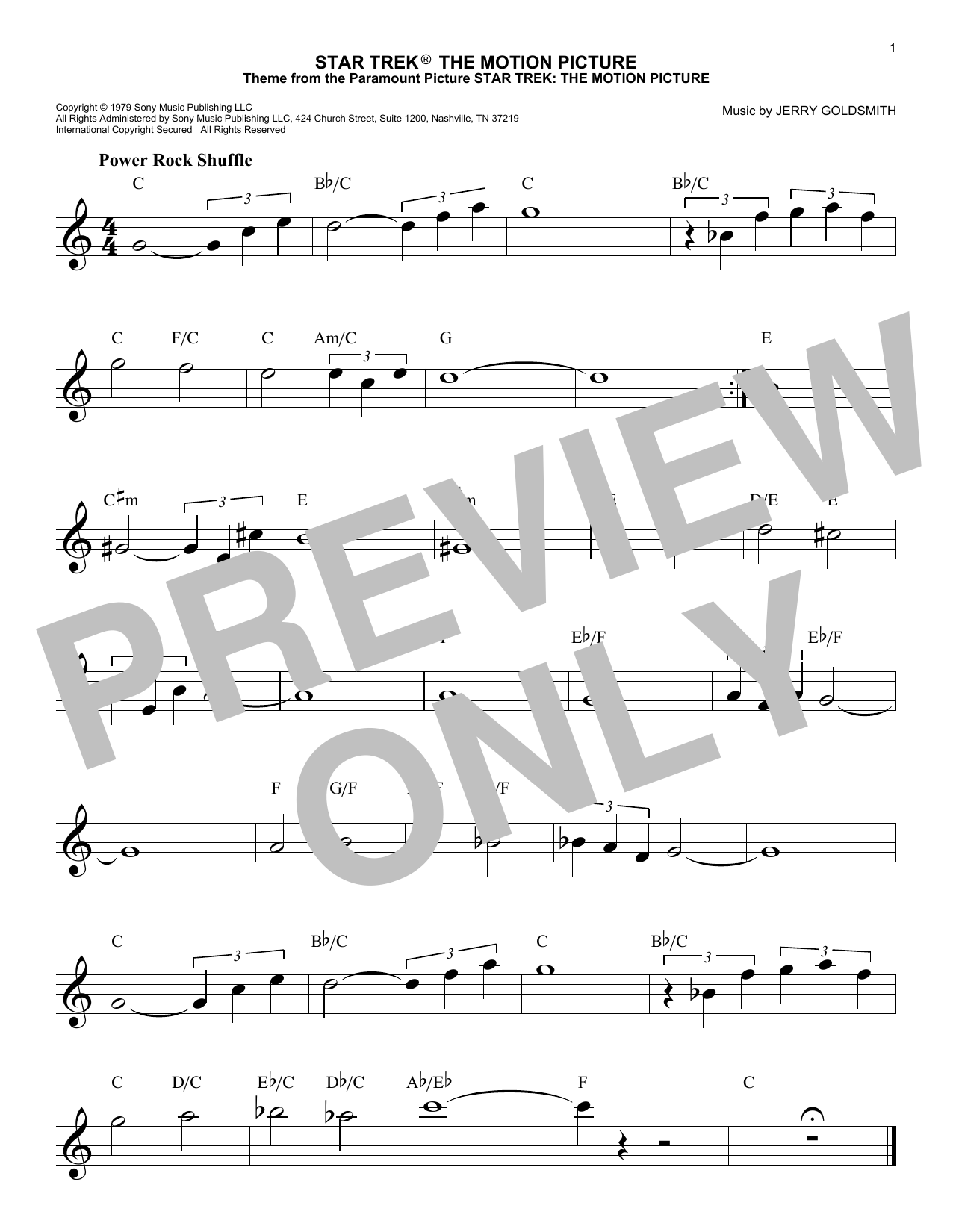 Star Trek The Motion Picture (Lead Sheet / Fake Book)