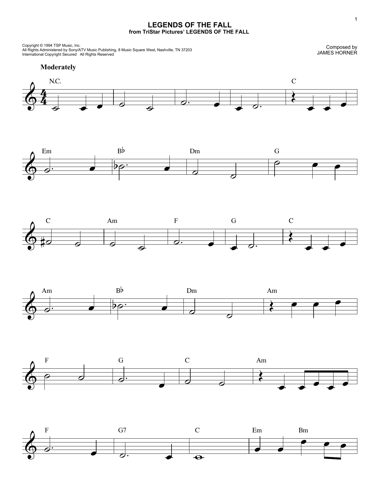 Legends Of The Fall (Lead Sheet / Fake Book)