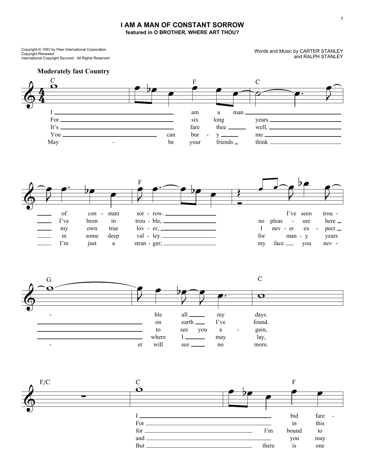 I Am A Man Of Constant Sorrow (Lead Sheet / Fake Book)