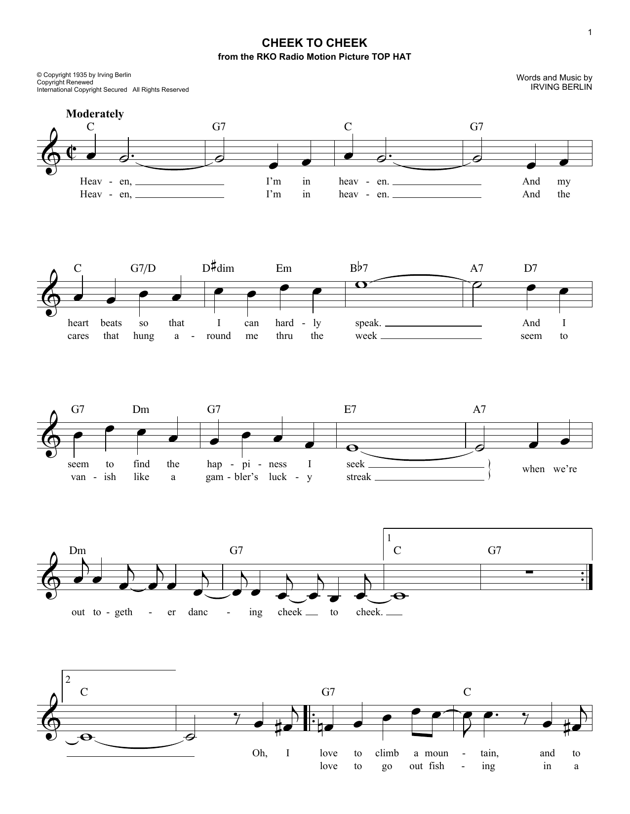 Cheek To Cheek (Lead Sheet / Fake Book)