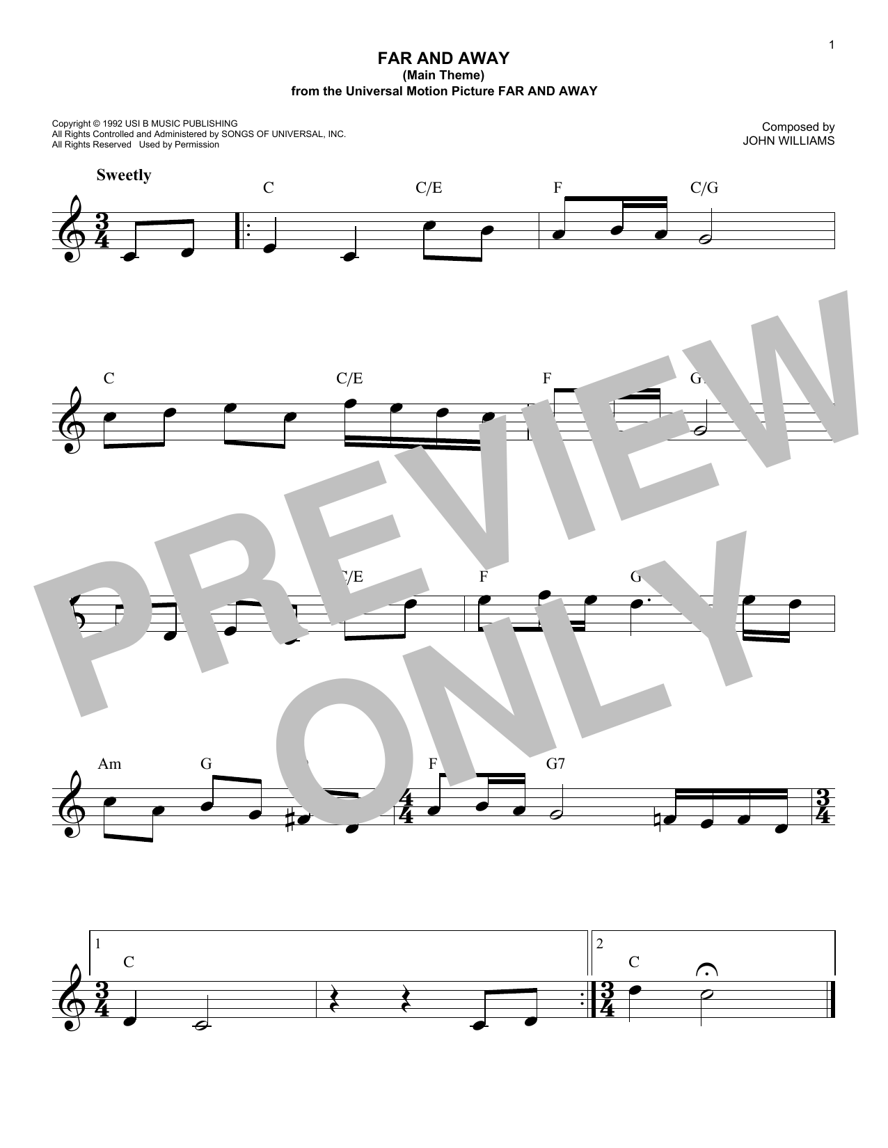 Far And Away (Main Theme) (Lead Sheet / Fake Book)