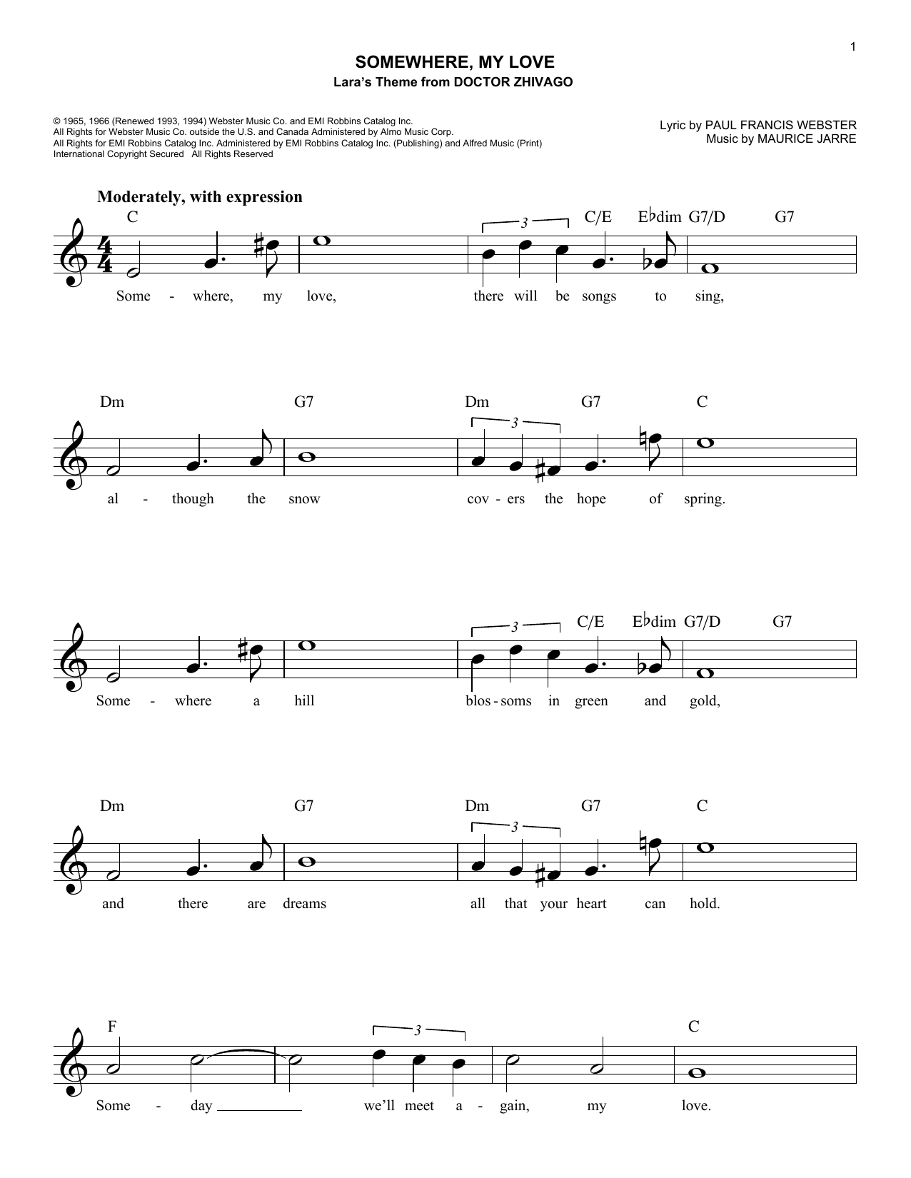 Somewhere, My Love (Lead Sheet / Fake Book)