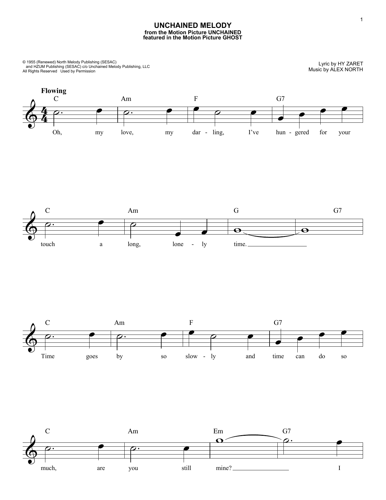 Unchained Melody Sheet Music The Righteous Brothers Melody Line