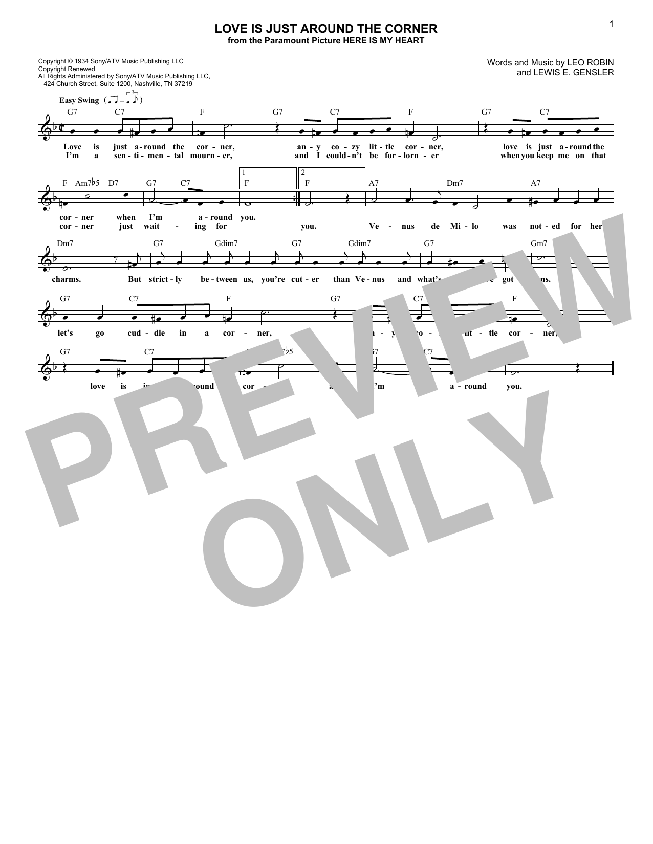 Love Is Just Around The Corner (Lead Sheet / Fake Book)