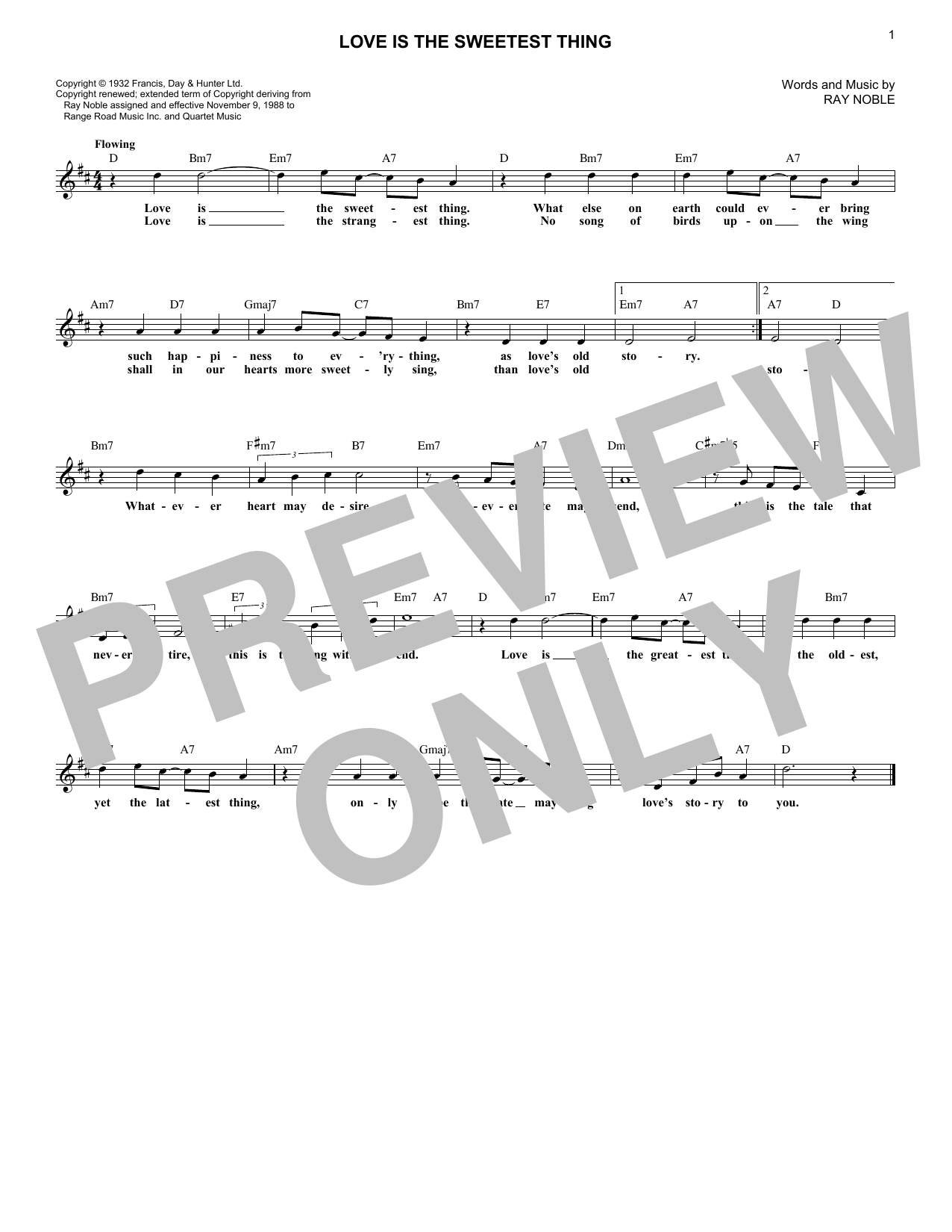 Love Is The Sweetest Thing (Lead Sheet / Fake Book)