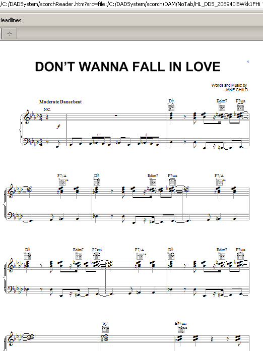 Don't Wanna Fall In Love (Piano, Vocal & Guitar (Right-Hand Melody))