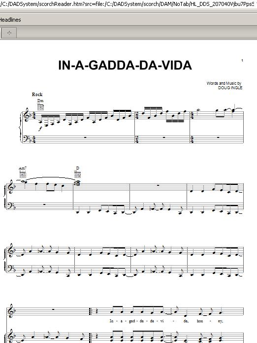 Partition piano In-A-Gadda-Da-Vida de Iron Butterfly - Piano Voix Guitare (Mélodie Main Droite)