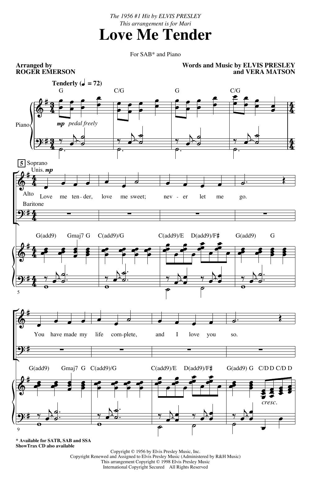 Love Me Tender (arr. Roger Emerson) (SAB Choir)
