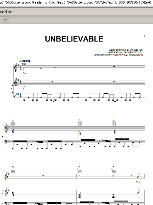 Unbelievable (Piano, Vocal & Guitar (Right-Hand Melody))