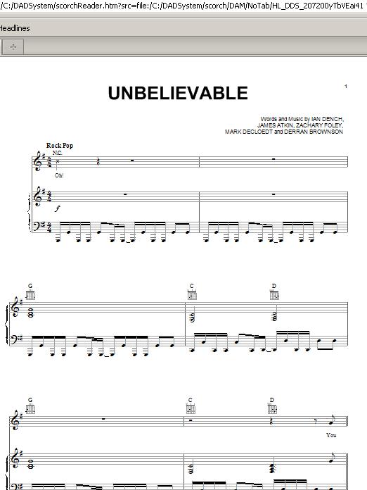 Unbelievable Sheet Music