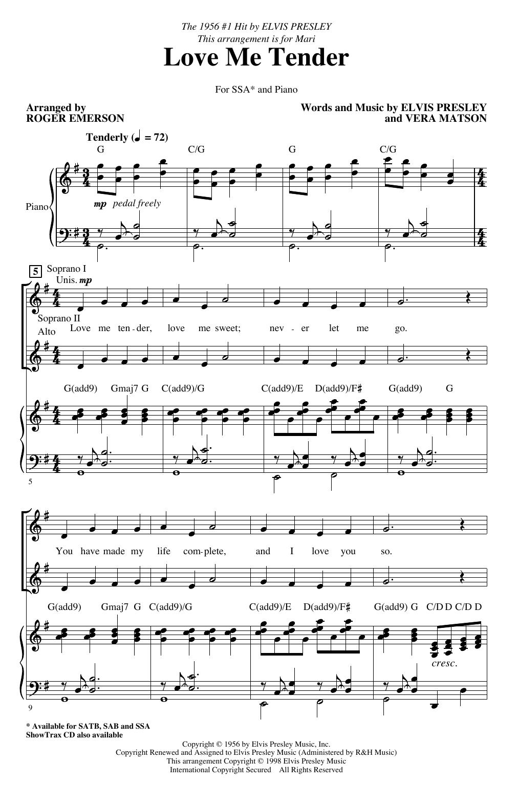 Love Me Tender (arr. Roger Emerson) (SSA Choir)