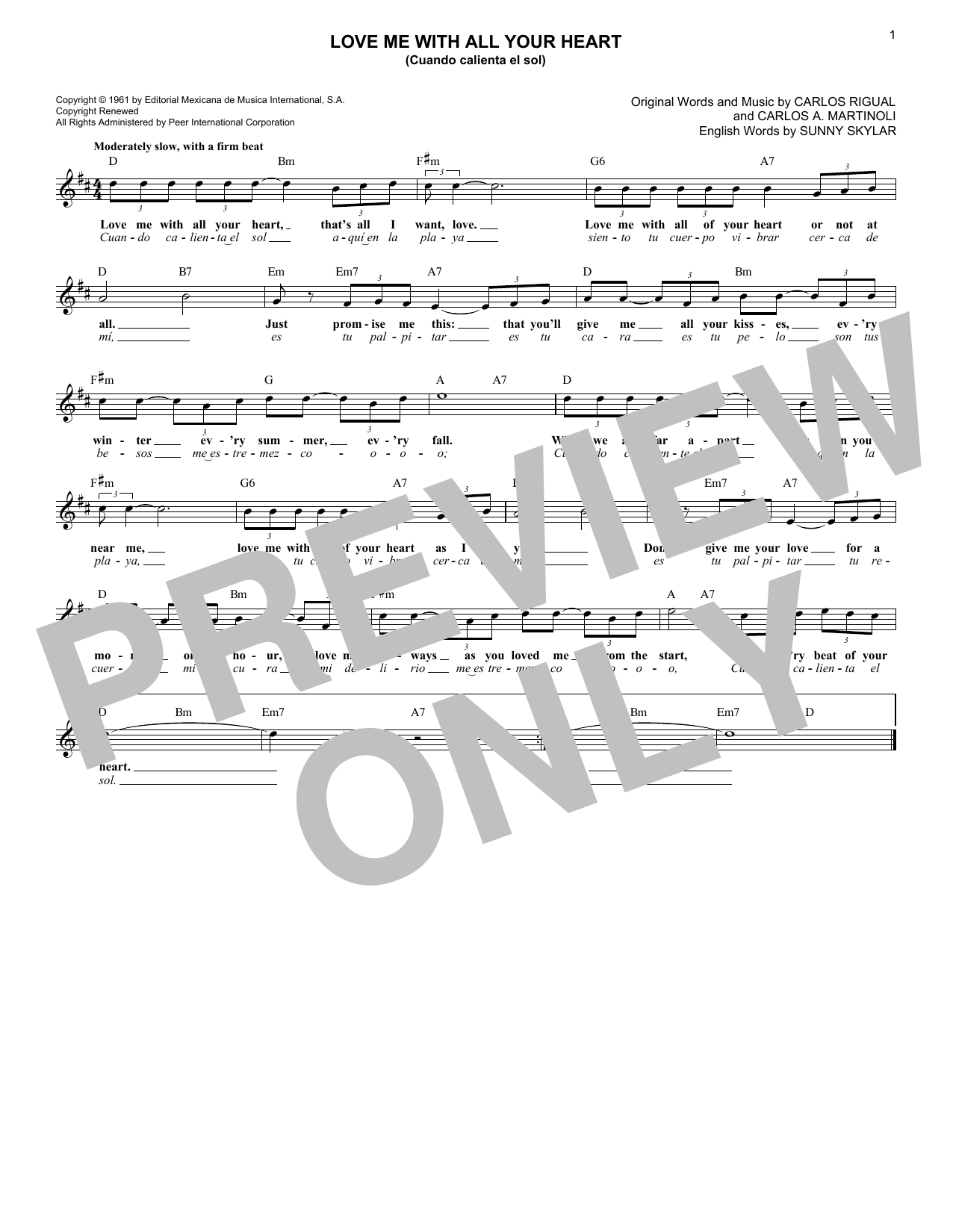 Love Me With All Your Heart (Cuando Calienta El Sol) (Lead Sheet / Fake Book)