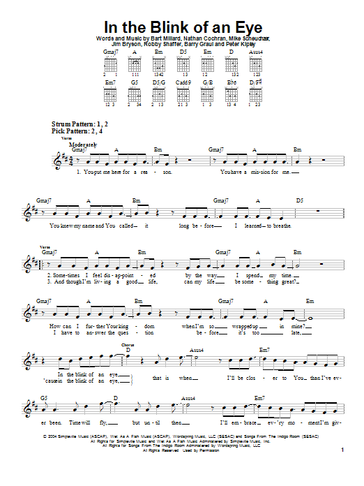 In The Blink Of An Eye Sheet Music