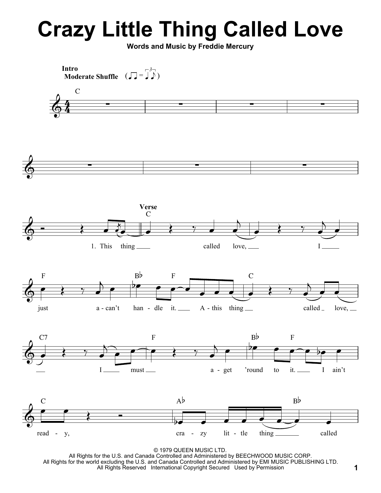 Crazy Little Thing Called Love Sheet Music By Michael Bubl Voice