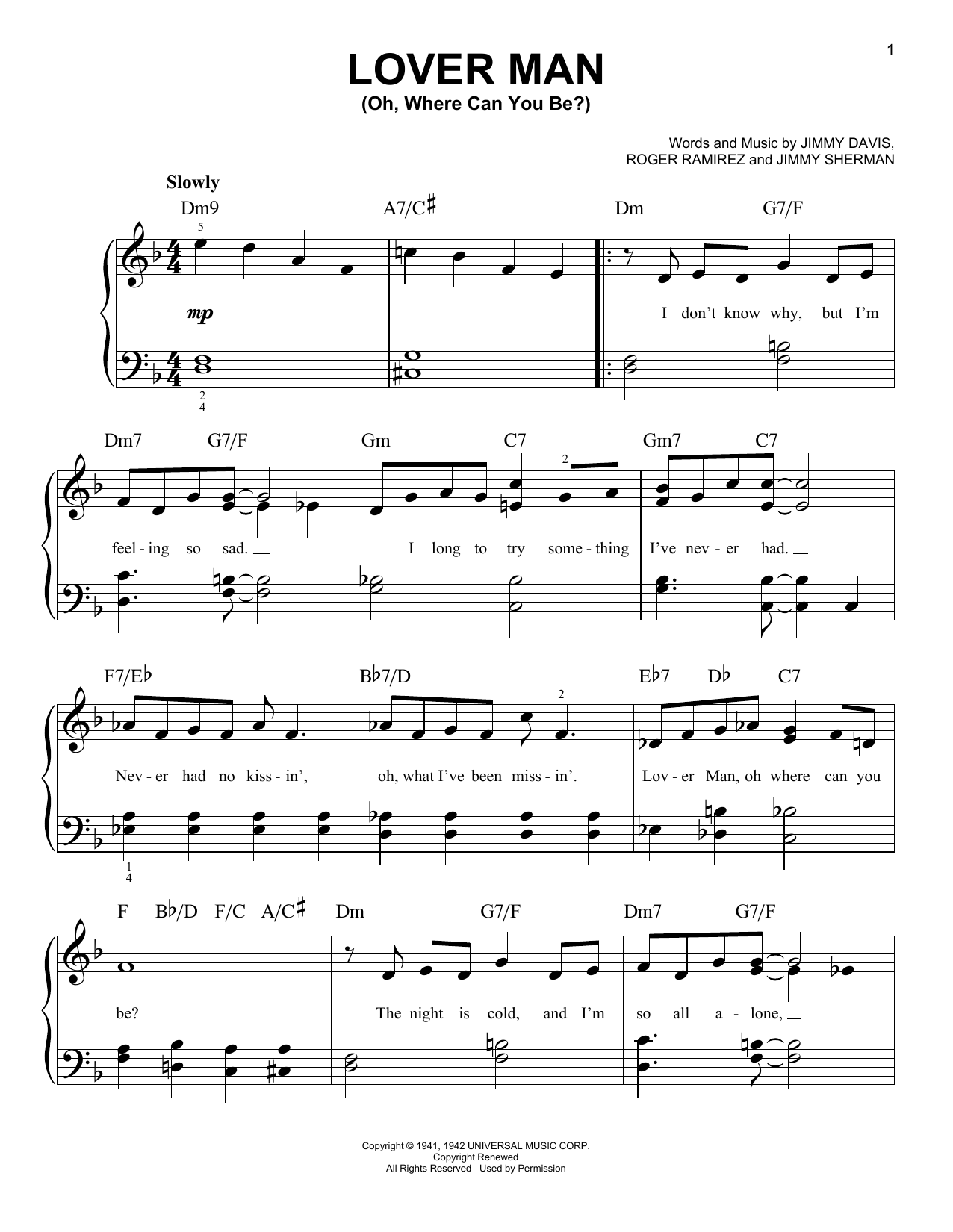 Lover Man (Oh, Where Can You Be?) (Very Easy Piano)