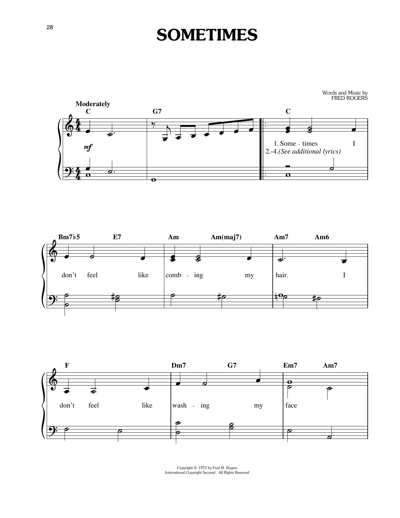 Sometimes (Easy Piano)